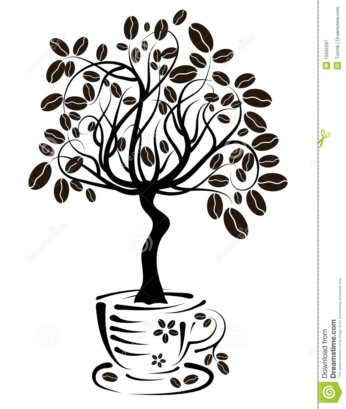 Coffee Tree In A Cup, Vector Royalty Free Stock ...