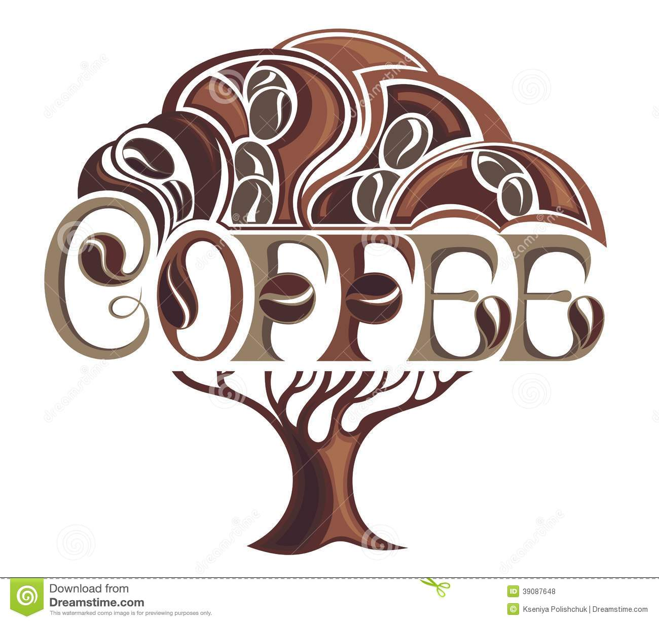 Coffee tree design stock vector. Illustration of isolated ...
