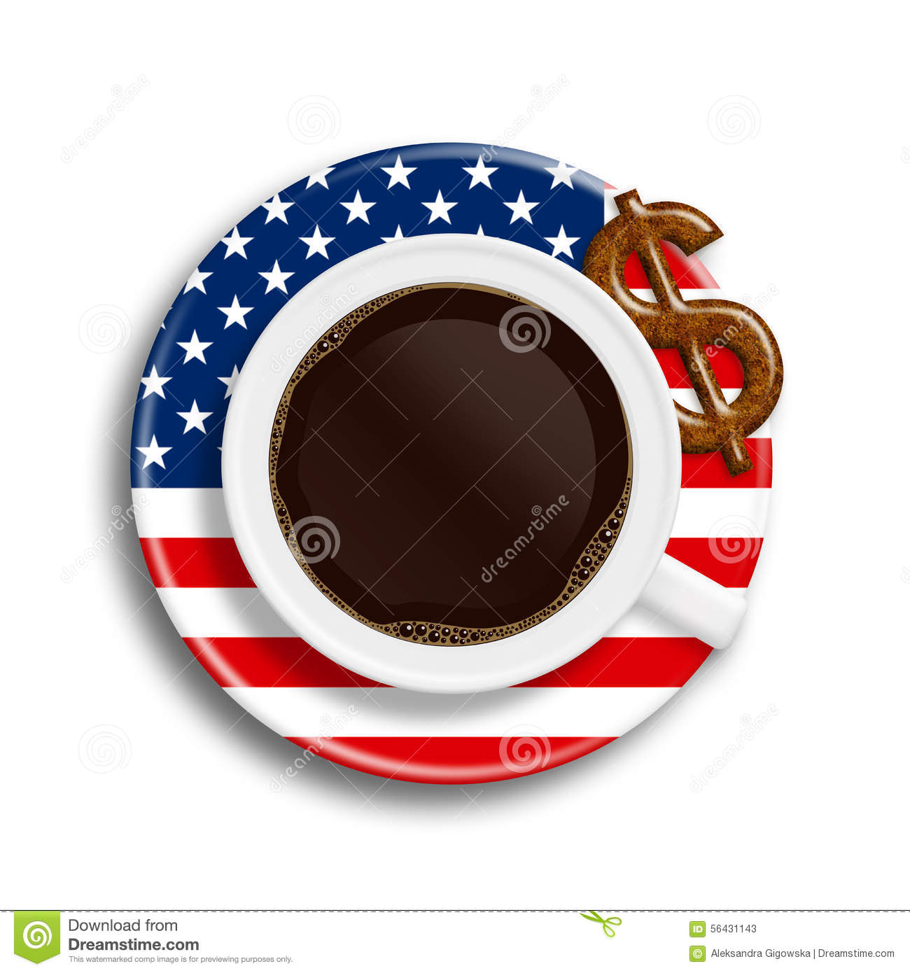 Coffee In Usa Flag Cup With Dollar Cookie Over White Stock