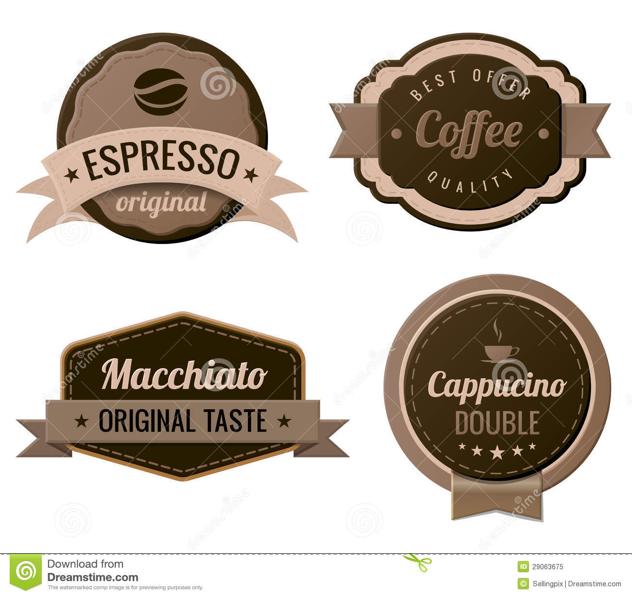 Coffee Vintage Labels Stock Vector Illustration Of Design 29063675