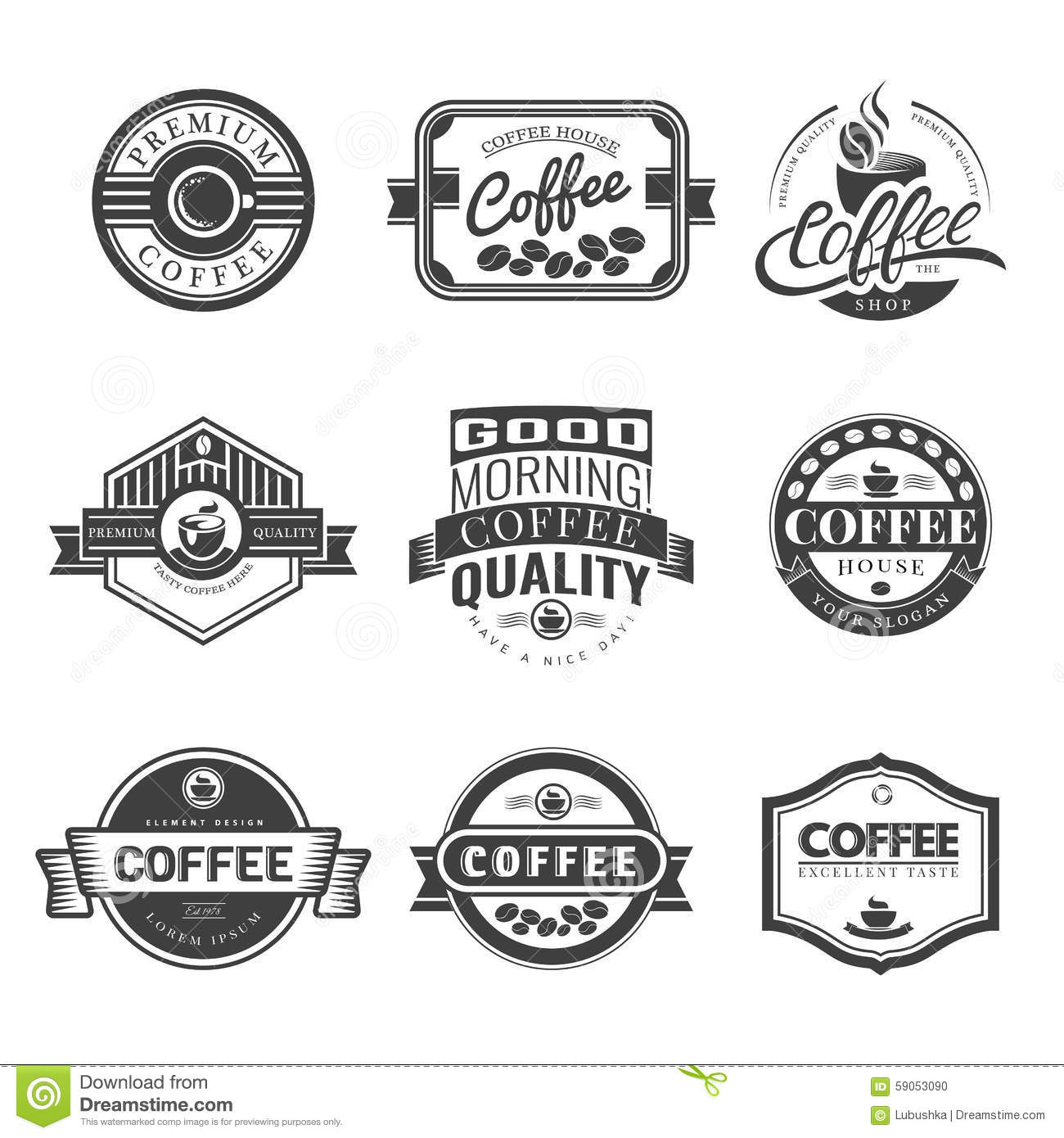 coffee vintage logo stock vector illustration of lettering 59053090