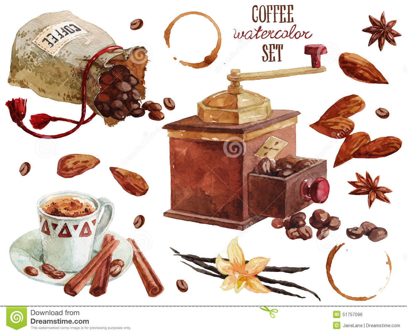 Coffee watercolor collection stock illustration image for Coffee watercolor