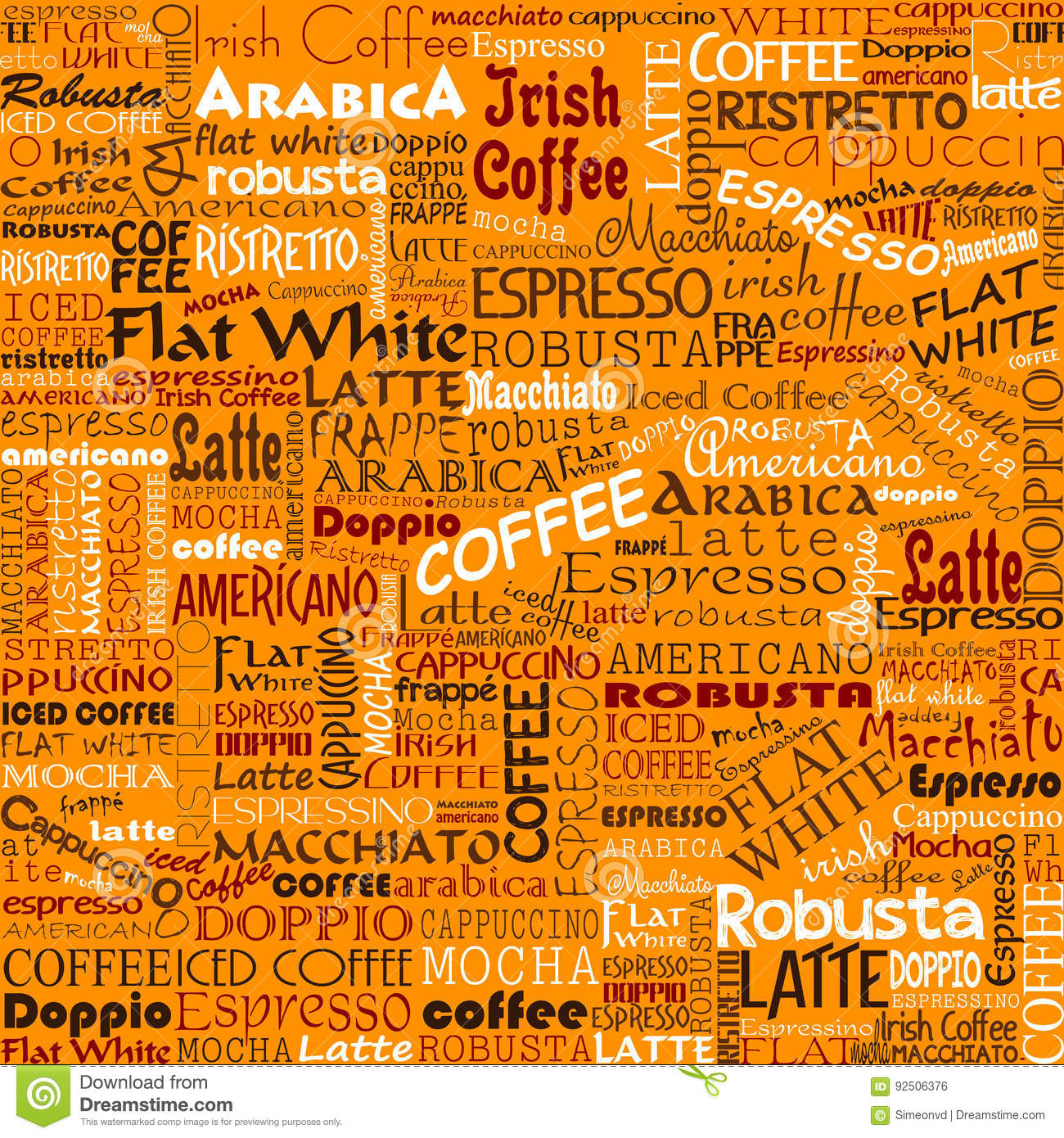 Coffee Words Seamless Background Tags