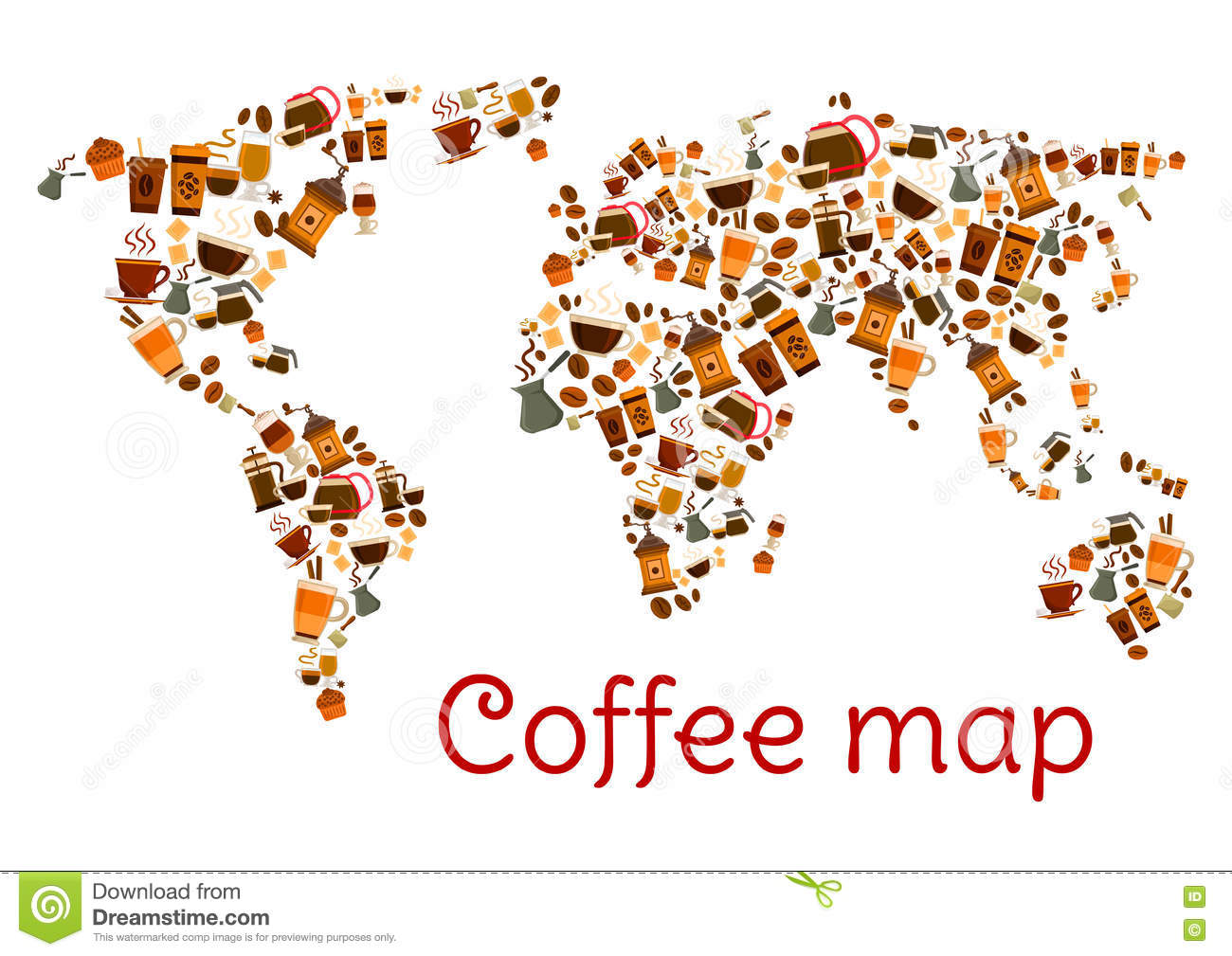 Coffee world map poster with cup and dessert stock vector coffee world map poster with cup and dessert royalty free vector gumiabroncs Choice Image