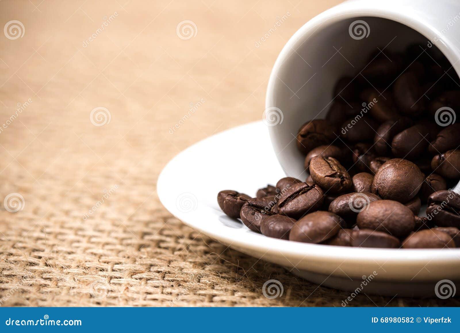Coffeecup y placa blancos con los coffeebeans derramados