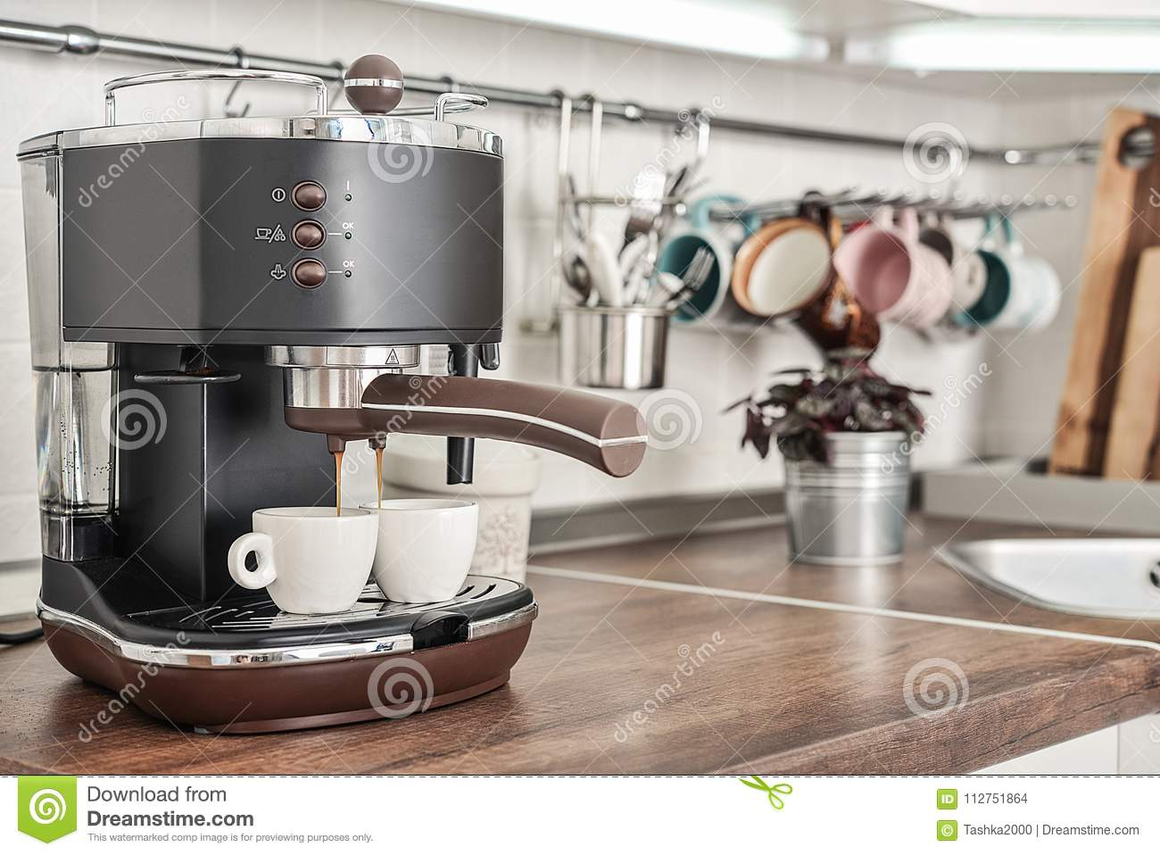 Coffeemaker With Two Cups Stock Photo Image Of Machine 112751864