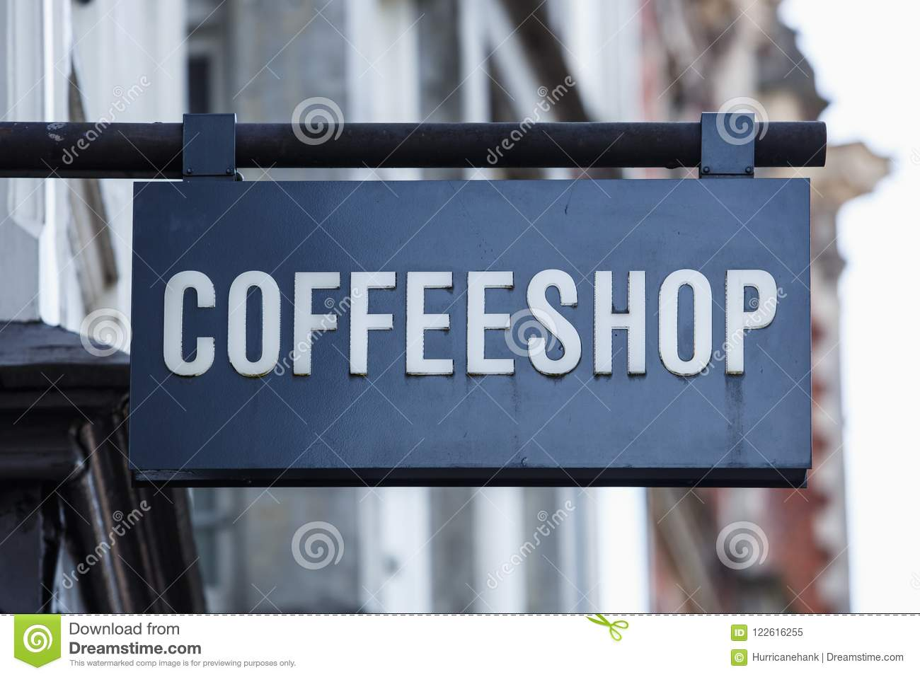 Coffee Shop Banner On Entrance In Amsterdam Stock Image