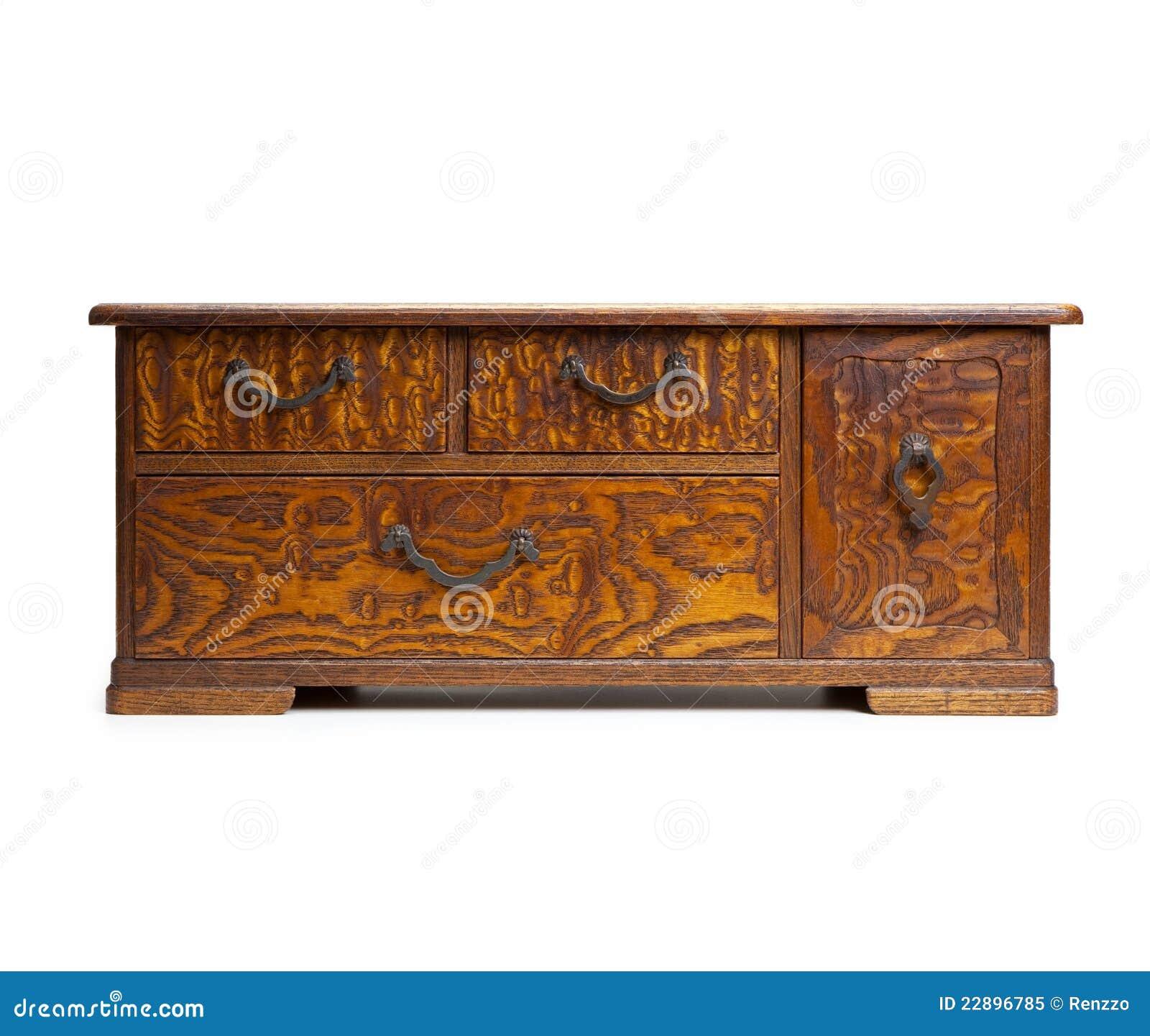 Coffre Asiatique Antique De Tiroir Sur Le Blanc Image Stock Image