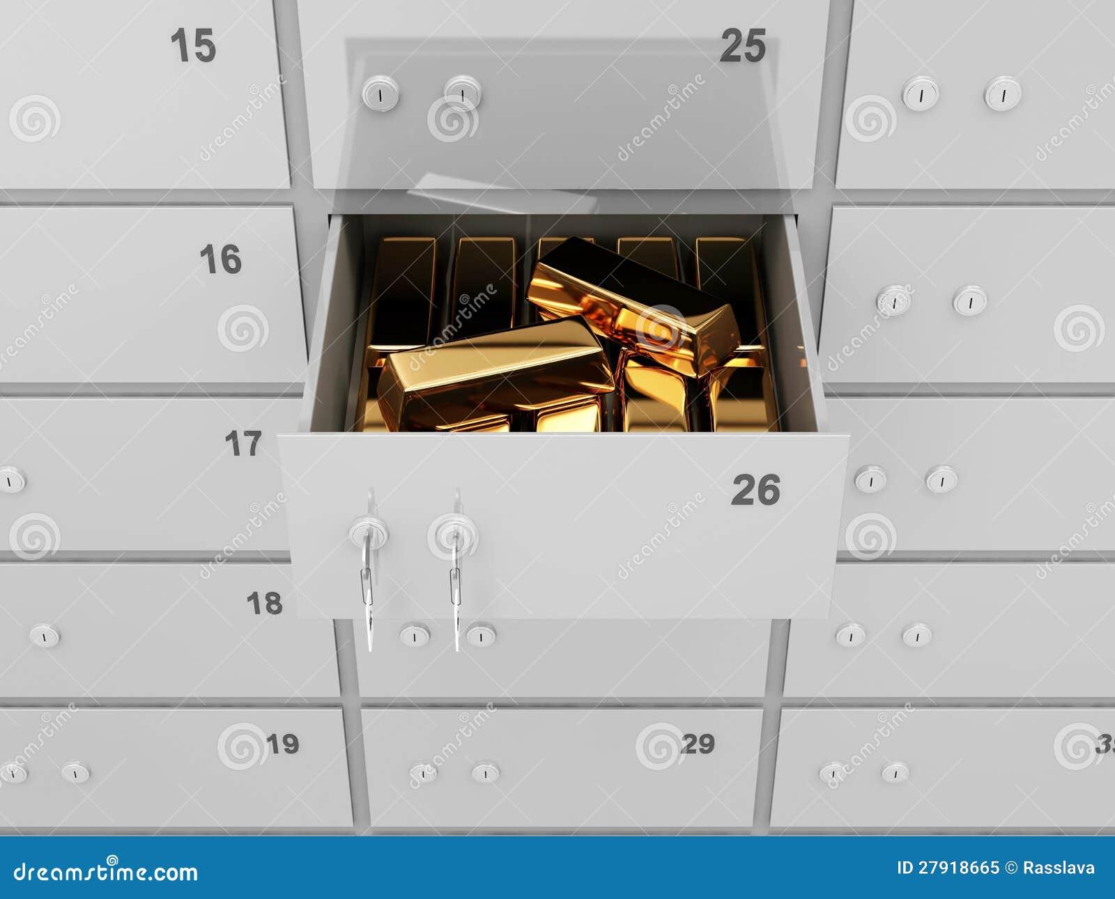 coffre fort de banque de d 233 p 244 t avec les barres d or photo libre de droits image 27918665