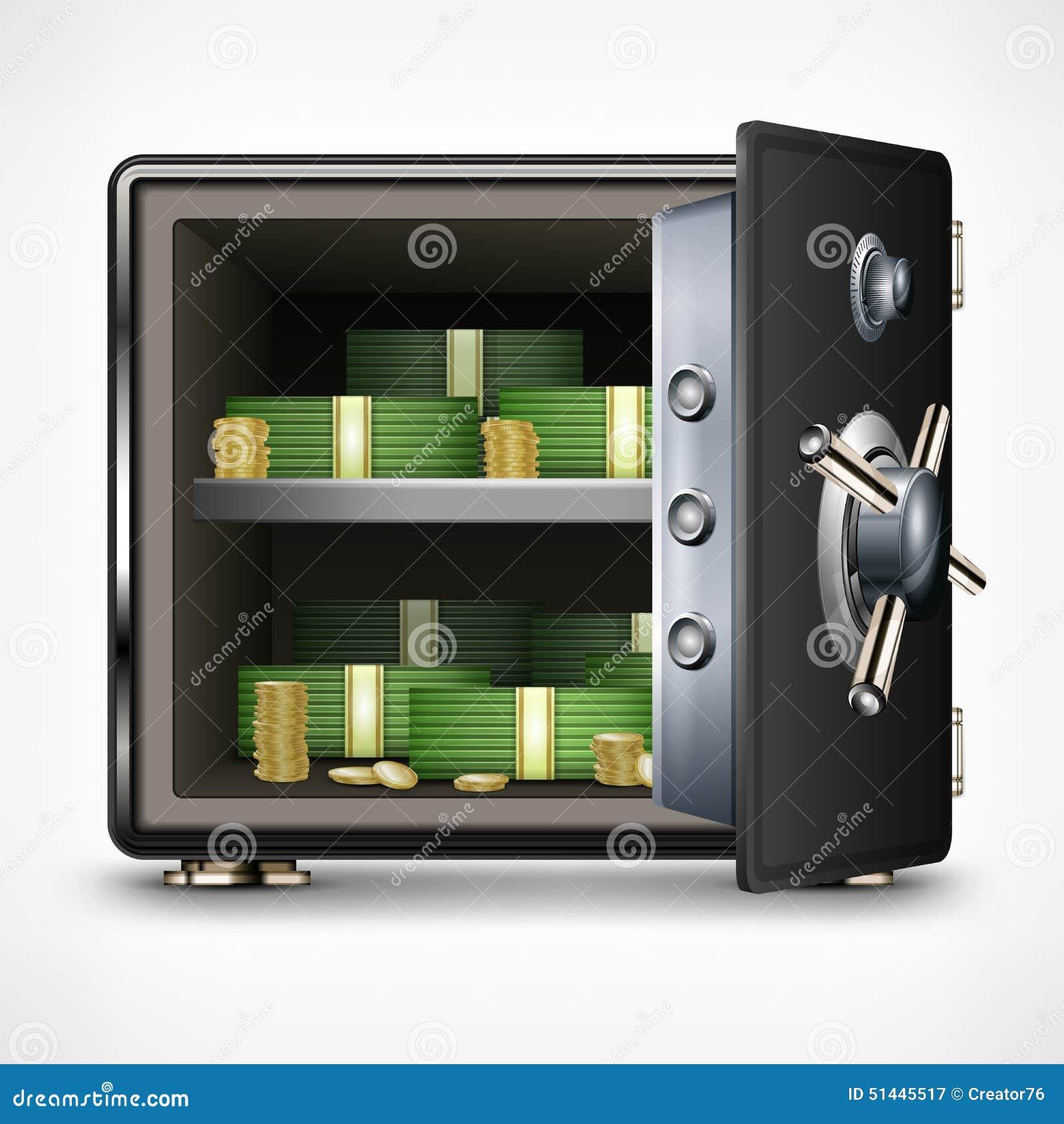 Coffre fort ouvert de banque avec l 39 argent illustration de for Louer coffre fort banque
