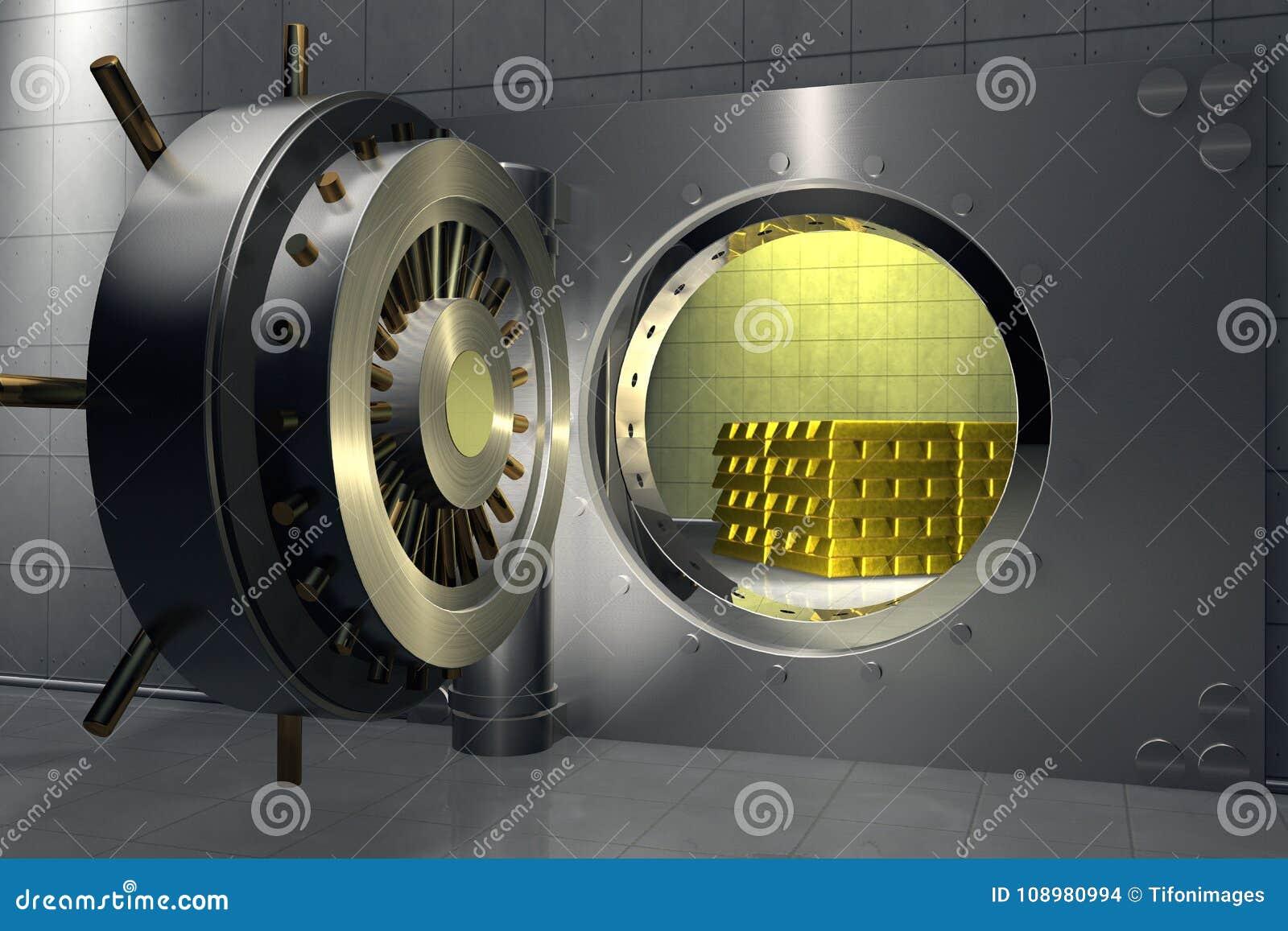 Cofre-forte de banco com a pilha de barras de ouro