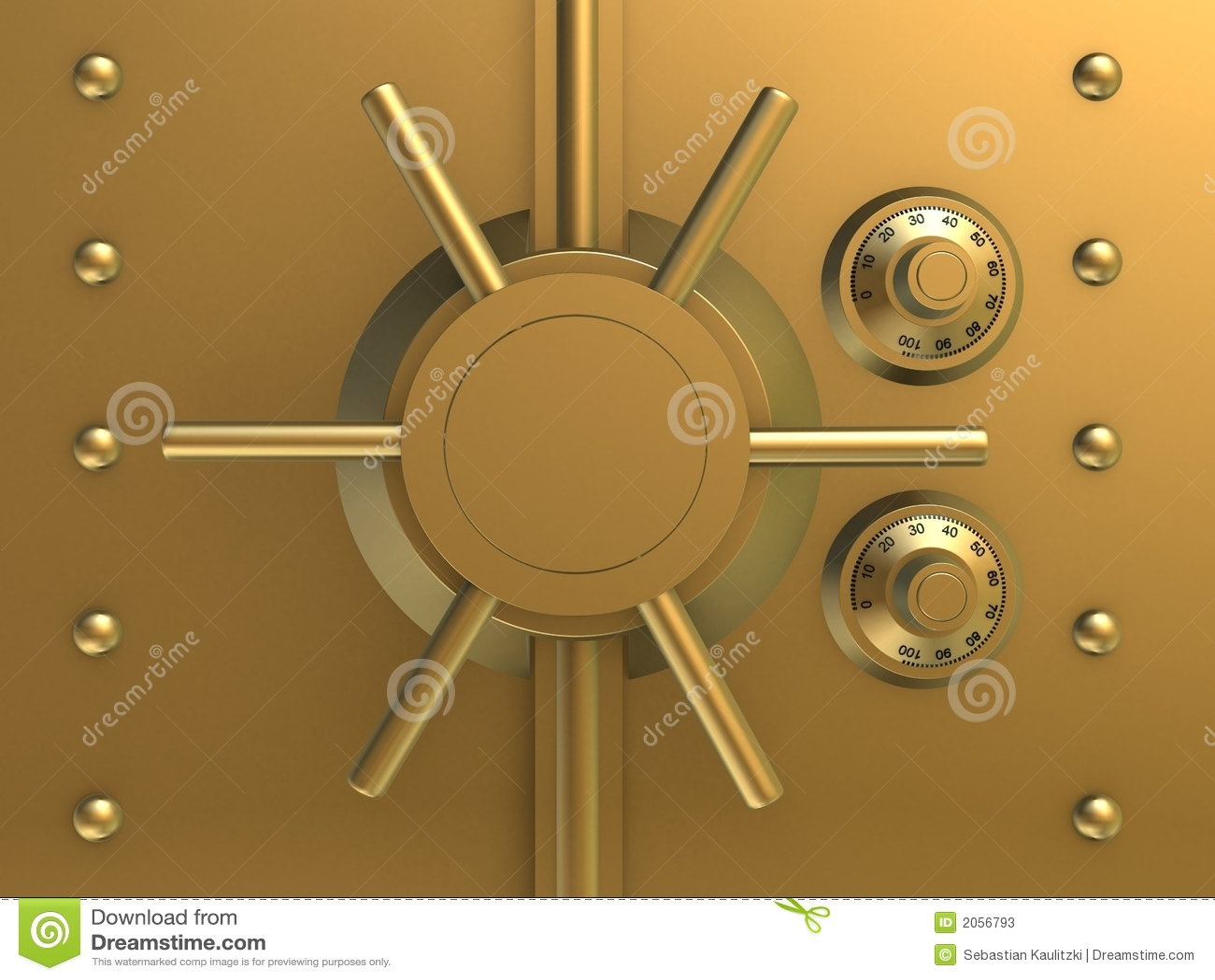 Cofre forte dourado do banco