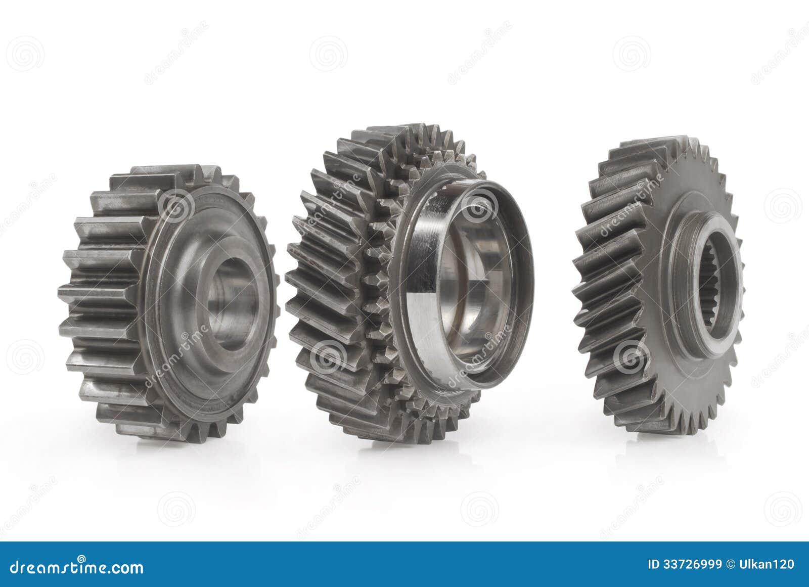 Крупный план 3 шестерней cog металла