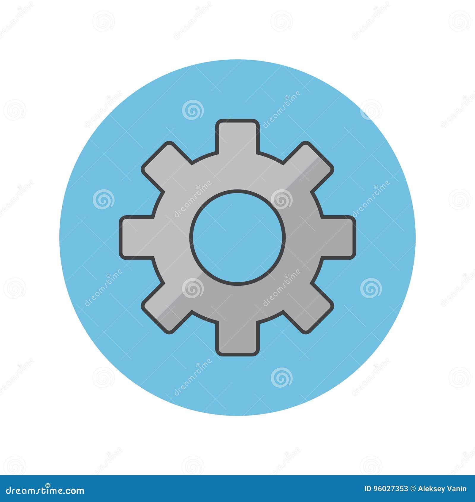 Cog cienka kreskowa ikona, położenia wypełniający zarysowywa wektorowego loga illustra