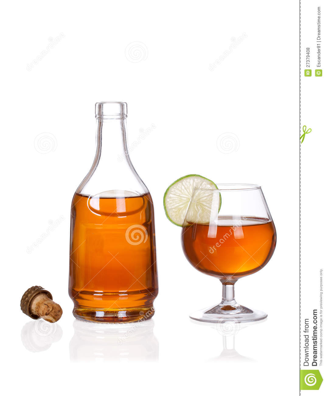 Cognac Brandy Bottle And Glass On White B Royalty Free ...