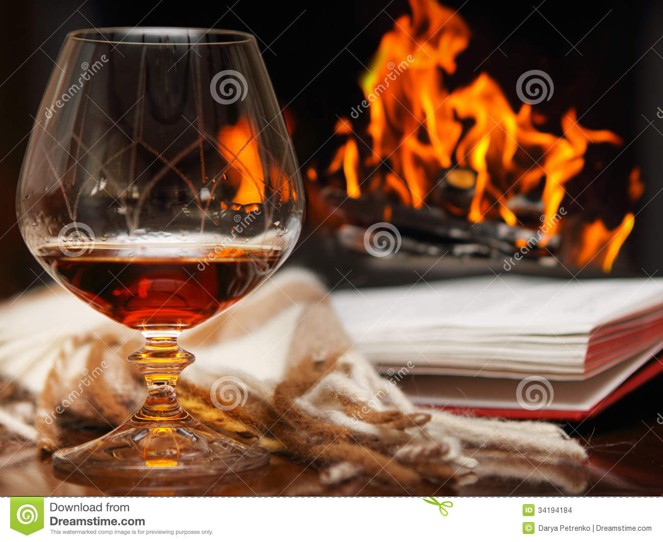 Cognac By The Fireplace Stock Photo Image Of Aroma