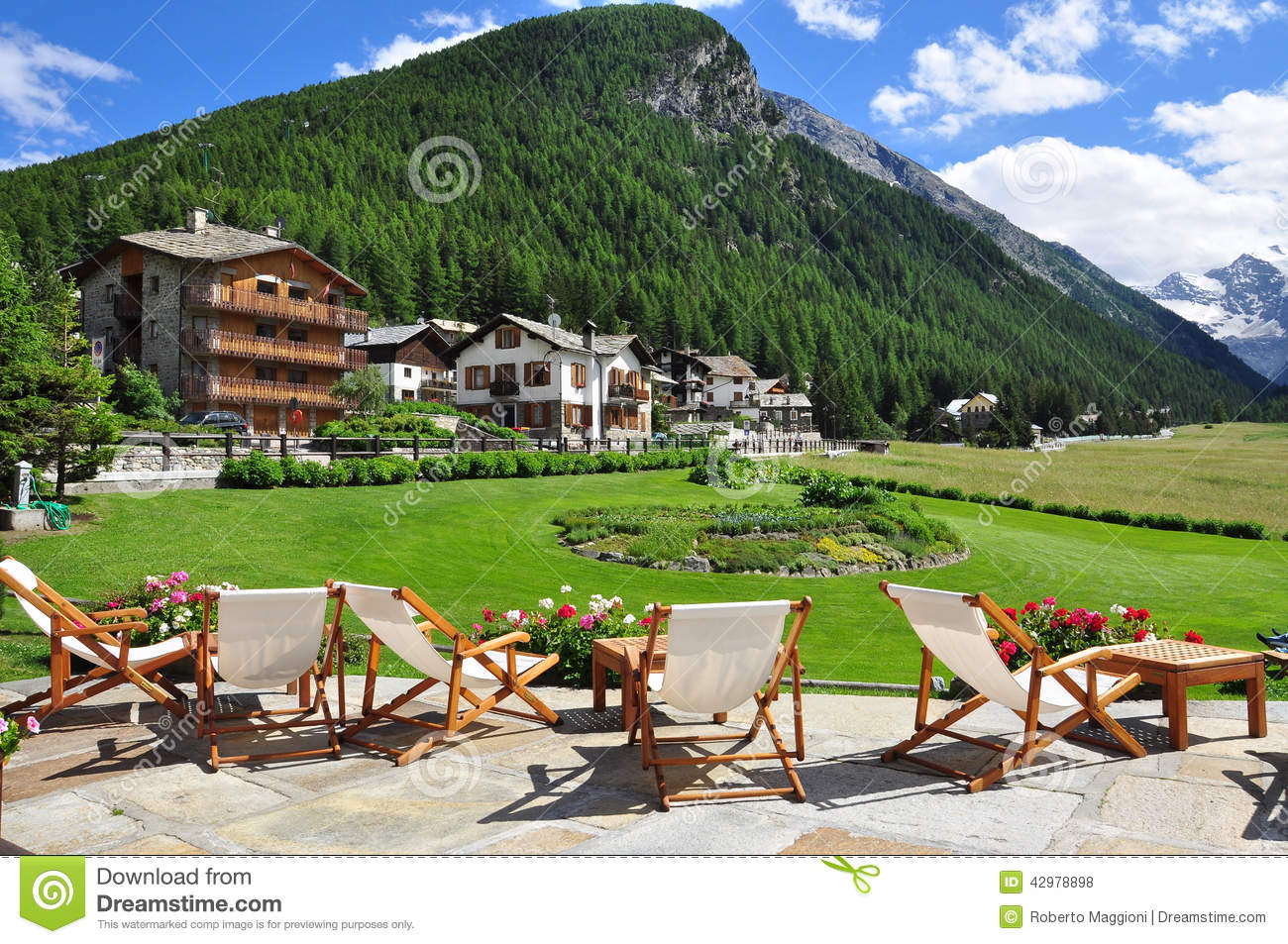 Cogne Mountain Holiday Resort. Aosta Valley, Italy Stock Photo - Image ...