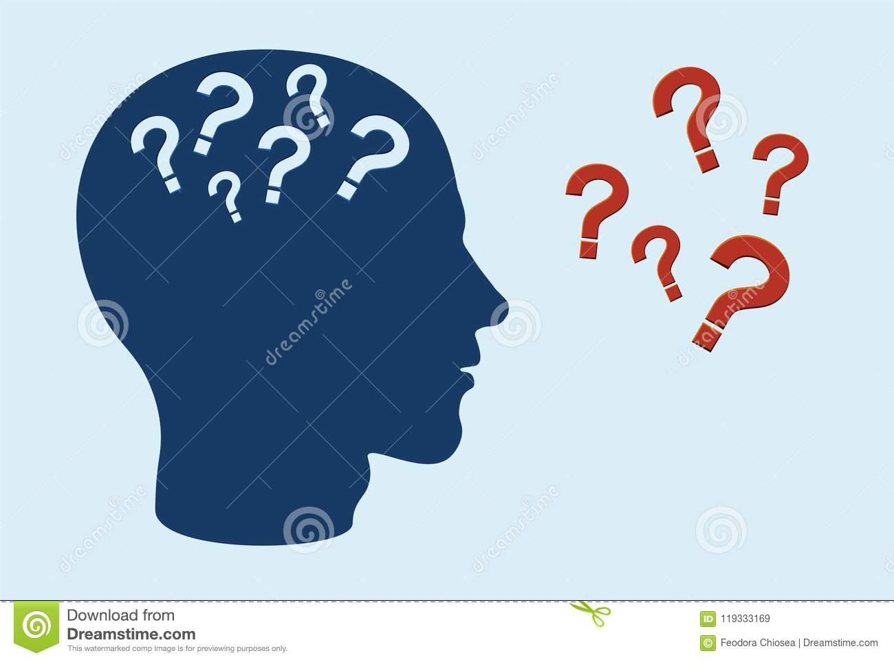 Cognitive function impairment concept. Side profile of human head with question marks