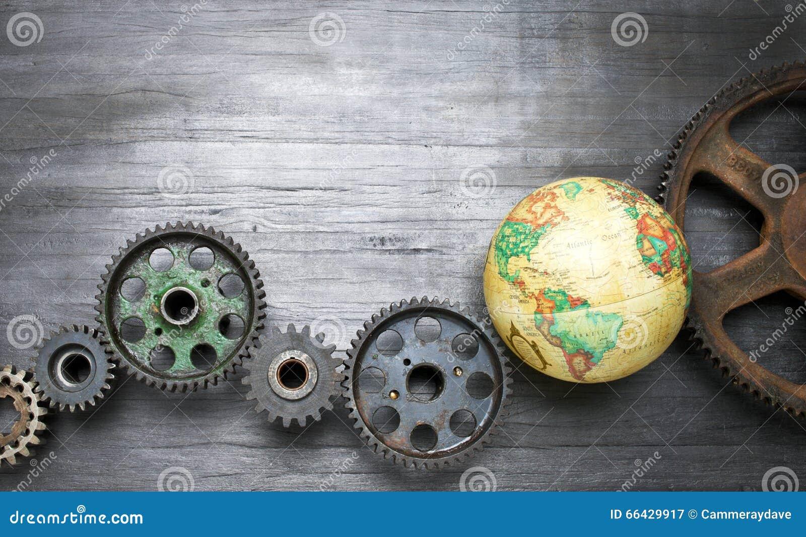 Cogs Biznesowy Światowy Globalny tło