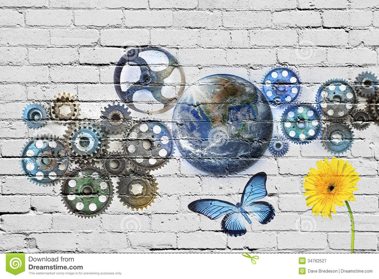 Cogs Earth Graffiti Sustainable Background