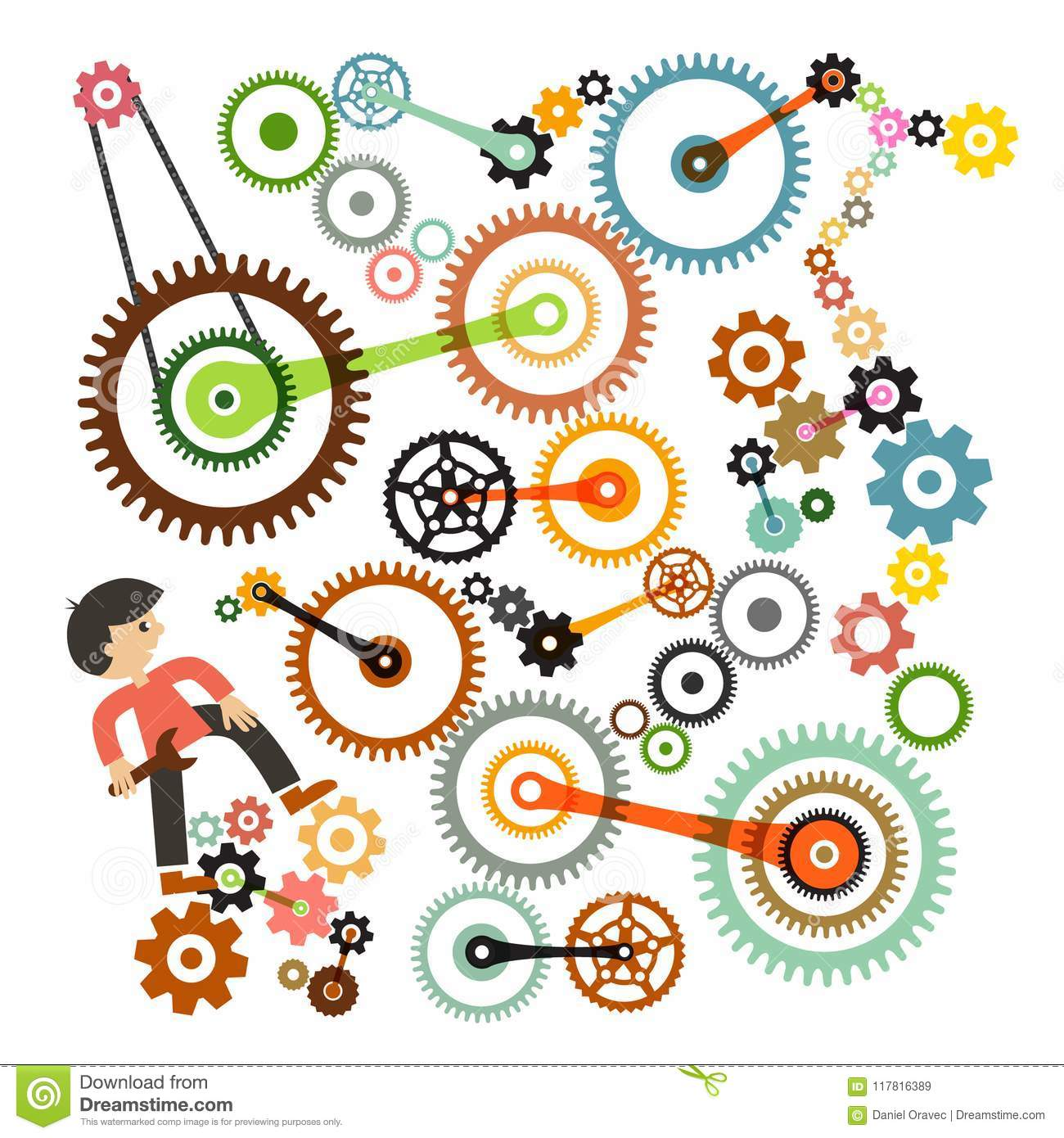 Cogs - Gears and Man. Vector.