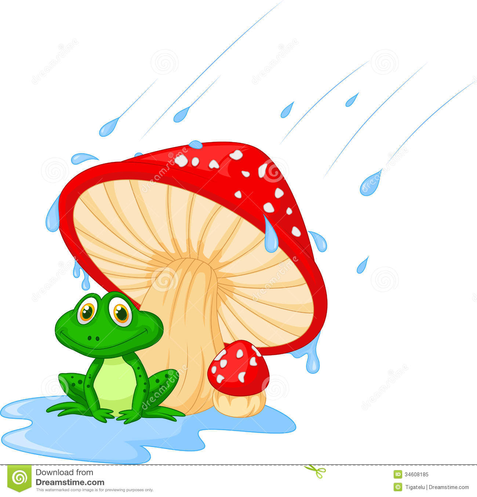 Cogumelo Dos Desenhos Animados Com Um Sapo Ilustração Do