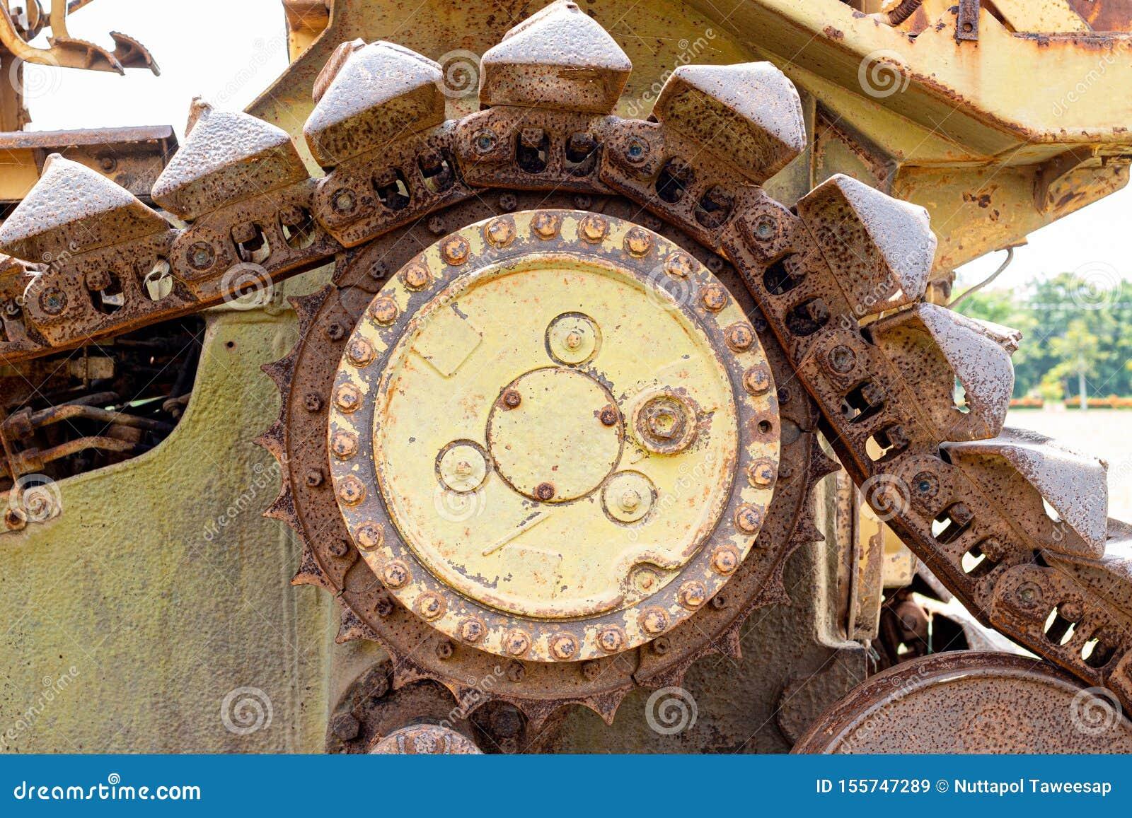 Cogwheel of the Old tractor , crawler wheel