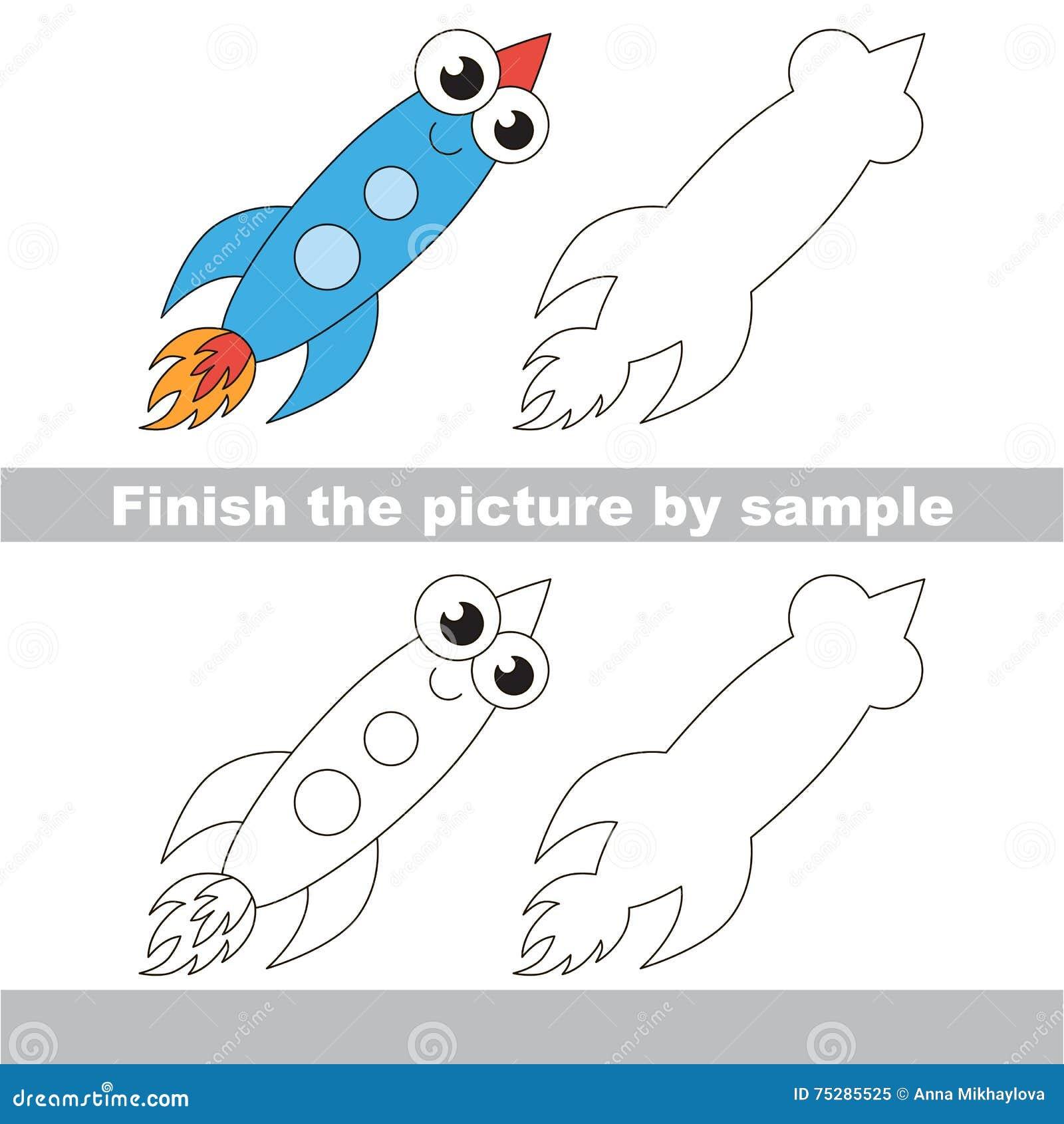 Cohete Divertido Hoja De Trabajo Del Dibujo Ilustración del Vector ...