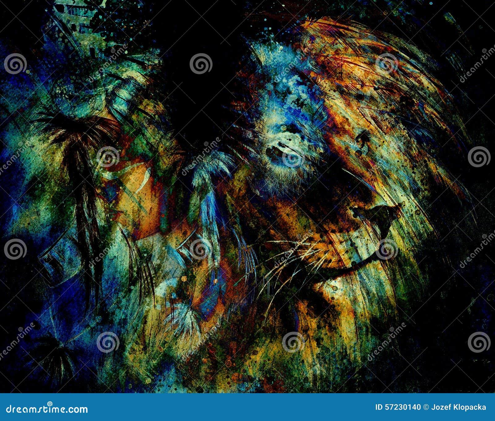 Coiffe De Port De Plume De Femme Indienne Avec Le Lion Et Le Collage