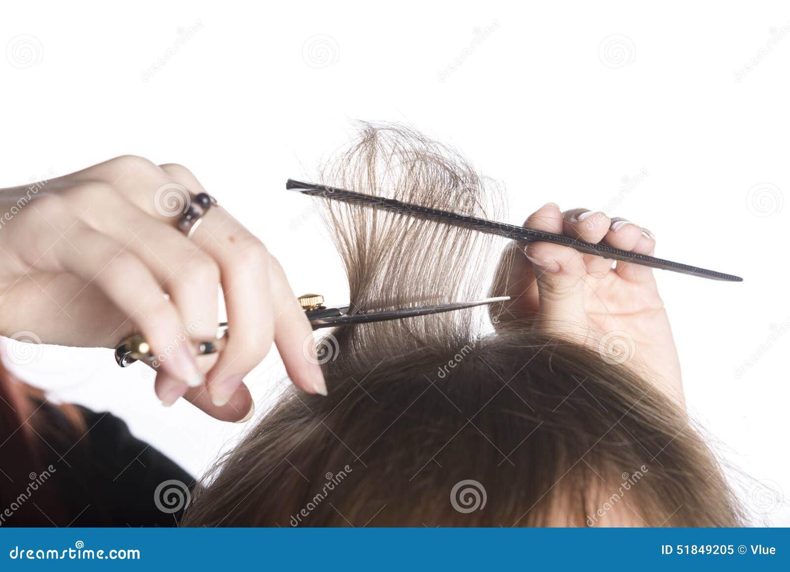 Coiffeur Hands Cutting Hair d un client