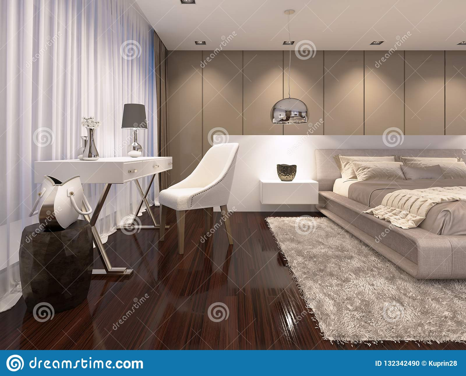 Coiffeuse Avec Un Miroir De Couleur Blanche Dans Lu0027art Déco De Style De  Chambre à Coucher Rendu 3d