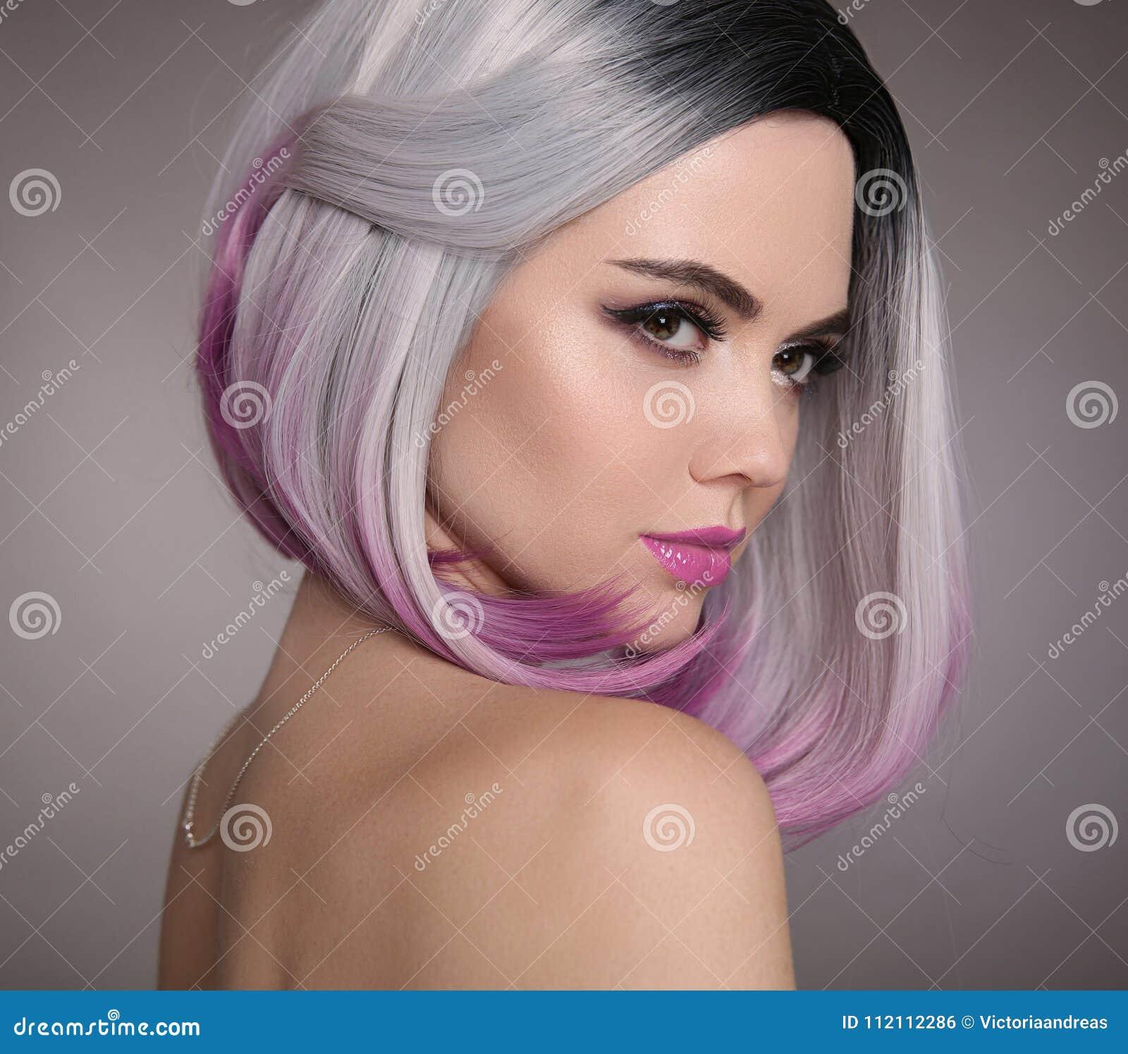 Coiffure de short de plomb d Ombre Belle femme de coloration de cheveux Fashio