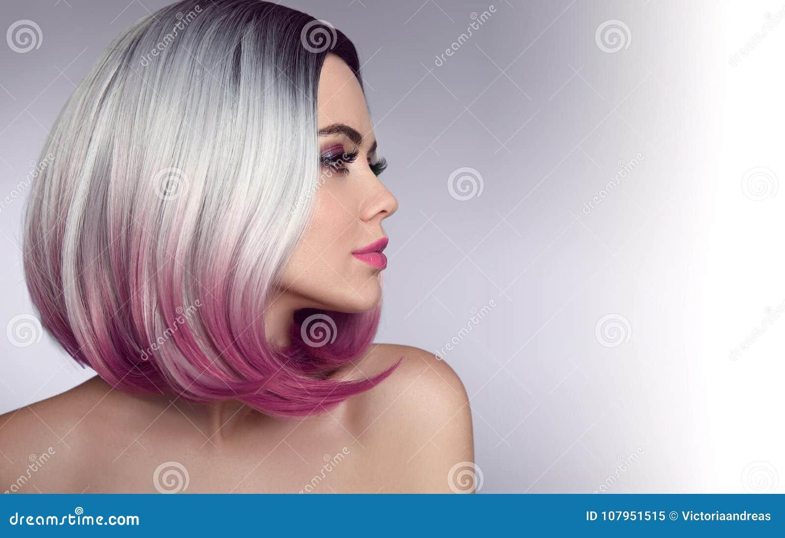 Coiffure de short de plomb d Ombre Belle femme de coloration de cheveux trendy