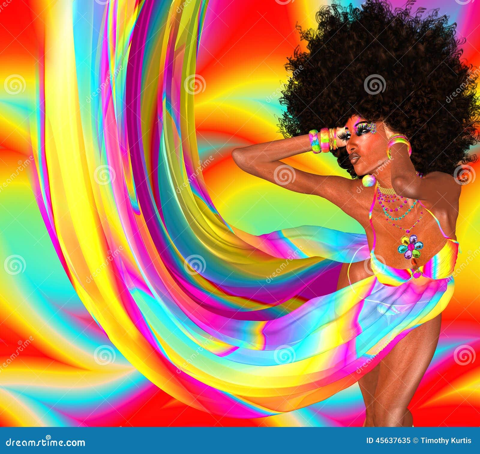 Coiffure Sexy De With Retro Afro De Danseur De Disco Illustration