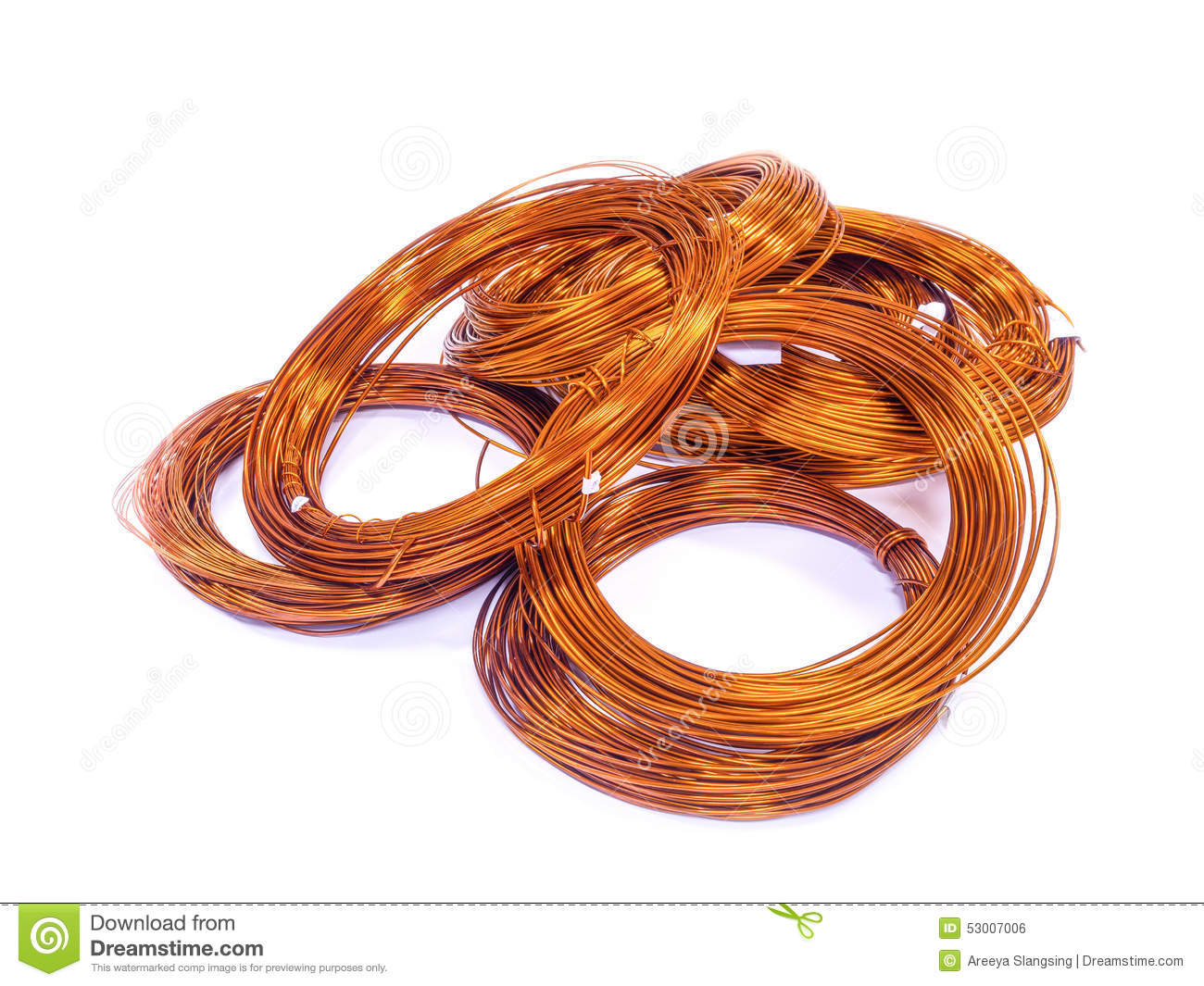 Coil Of Copper Wire Isolated On White Stock Photo - Image of ...