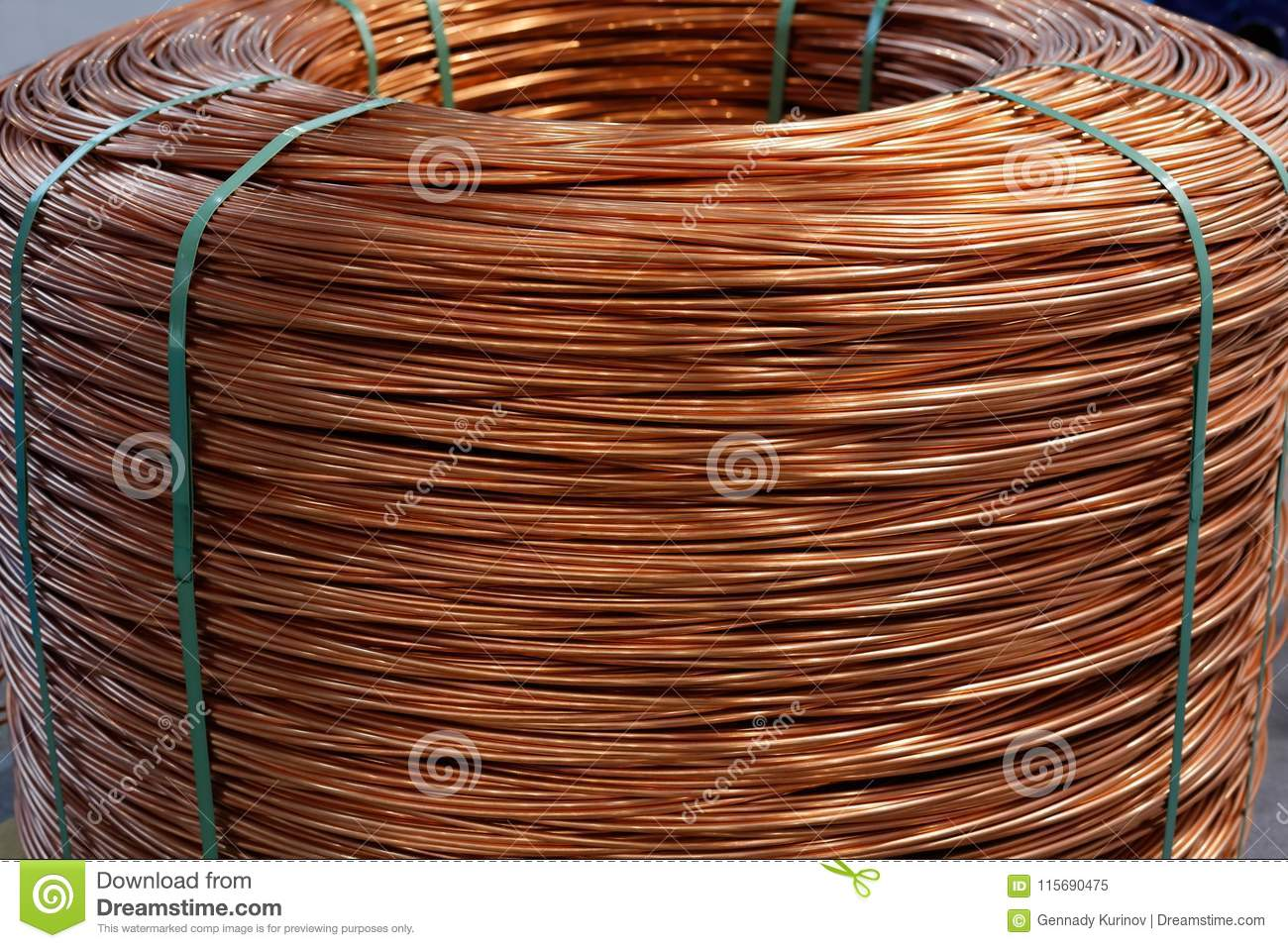 Coil Of 8 Mm Copper Wire Rod Stock Image - Image of closeup ...
