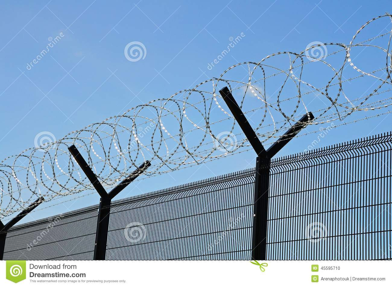Coiled Barbed Wire Security Fence. Stock Photo - Image of perimeter ...