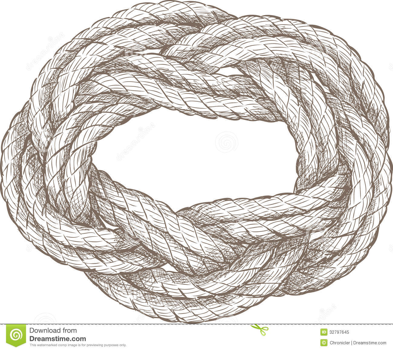 Vector drawing of a twisted rope of a sailboat rigging.