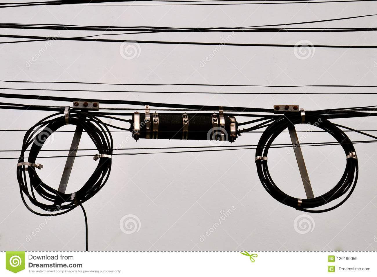 Coiled Telephone Wires And Junction Box Stock Image - Image ... on