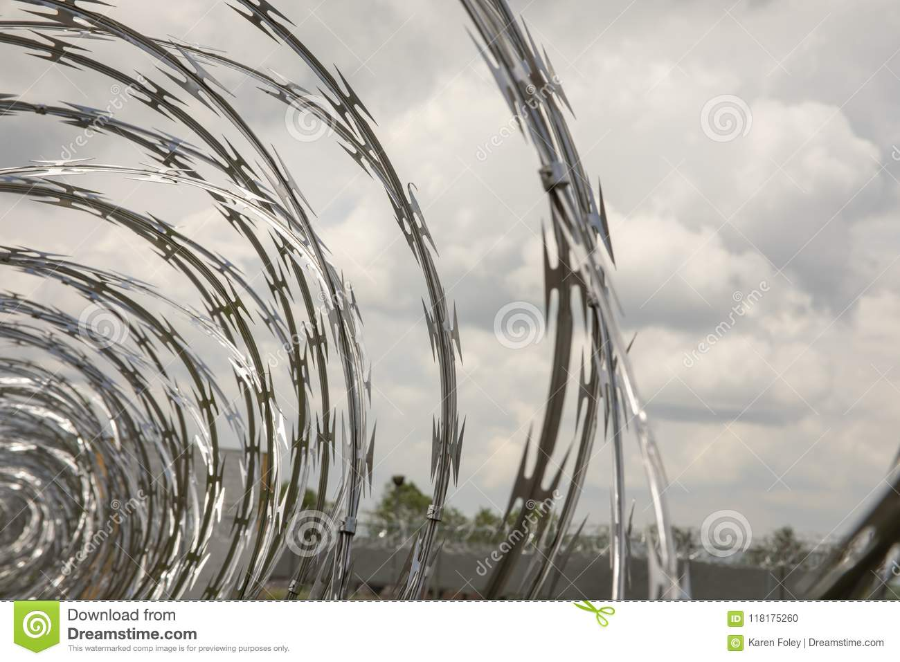 Coils Of Razor Wire On Fence Stock Photo - Image of america ...
