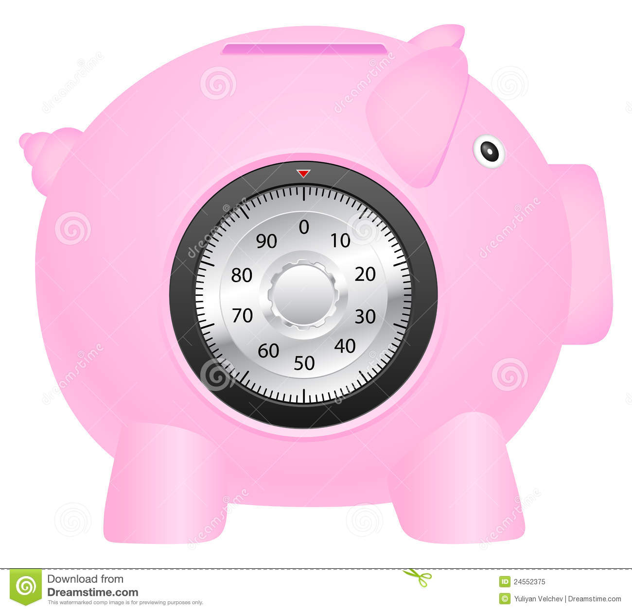 Coin bank and combination lock stock vector image 24552375 for Large piggy bank with lock