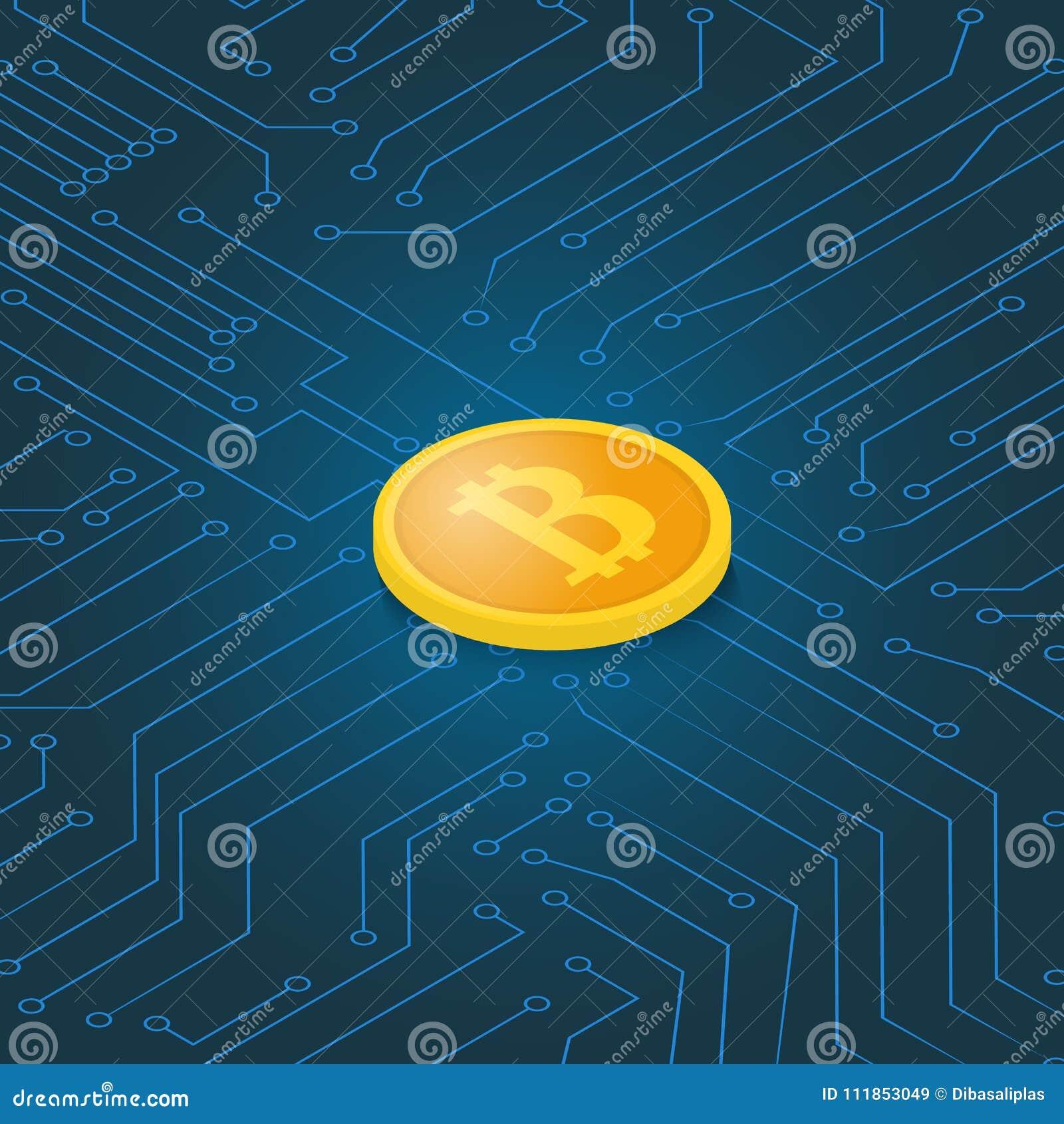 Coin bitcoin on a computer chip.