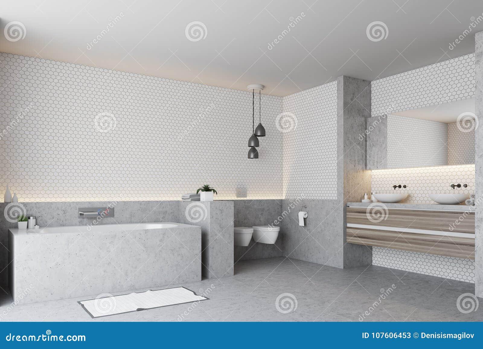 Toilette Gris Et Blanc coin blanc de salle de bains, baquet gris illustration stock