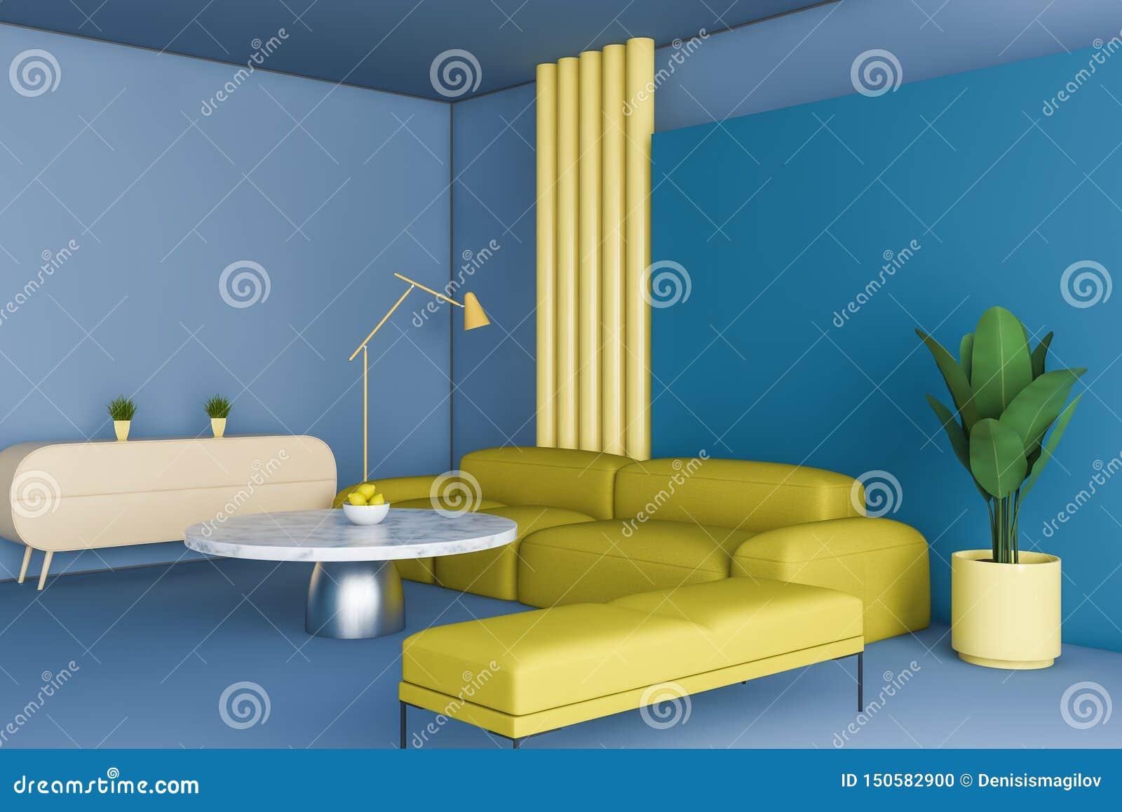 Coin Bleu Et Jaune Lumineux De Salon Illustration Stock