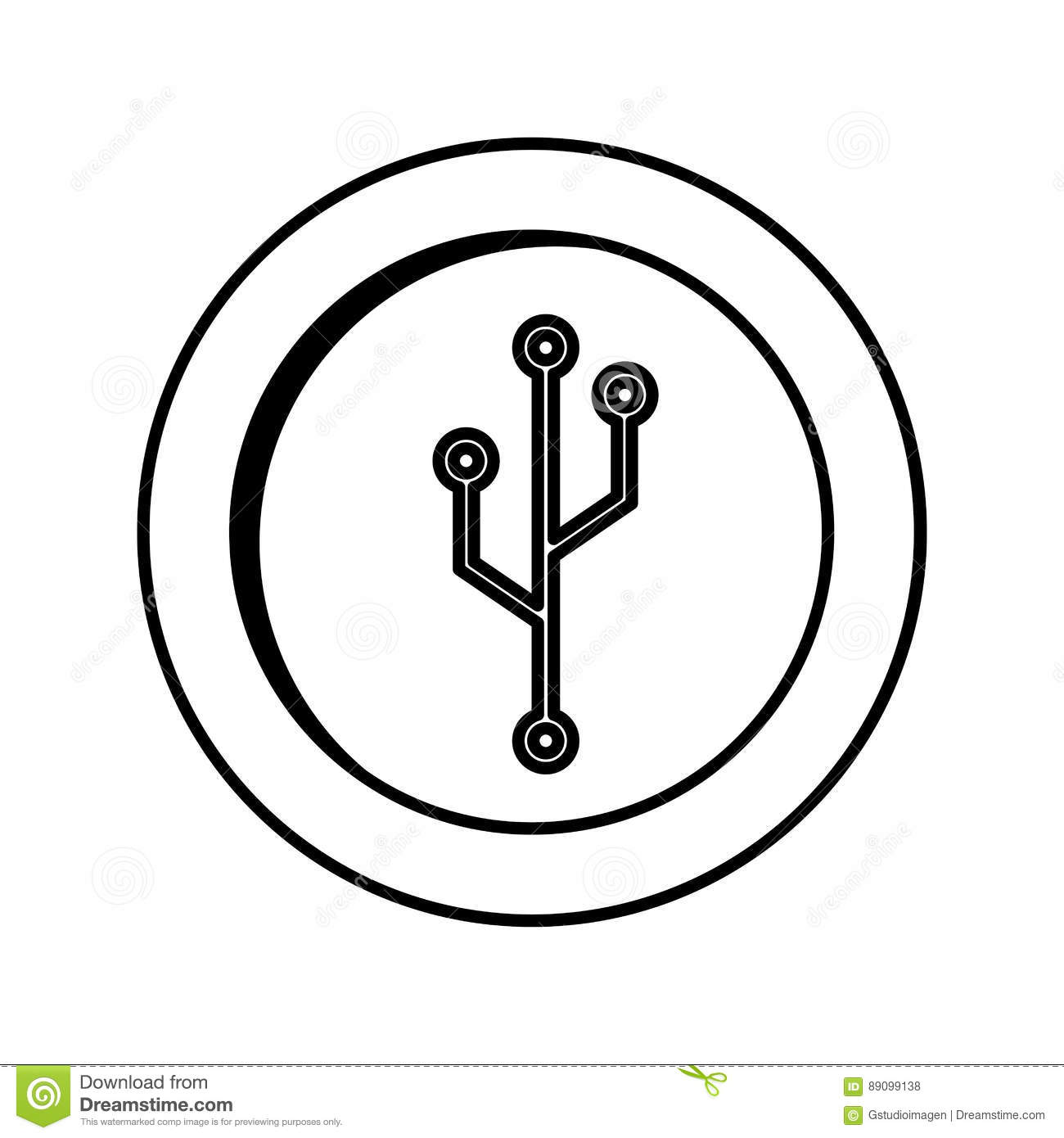 coin with circuit electric icon stock vector