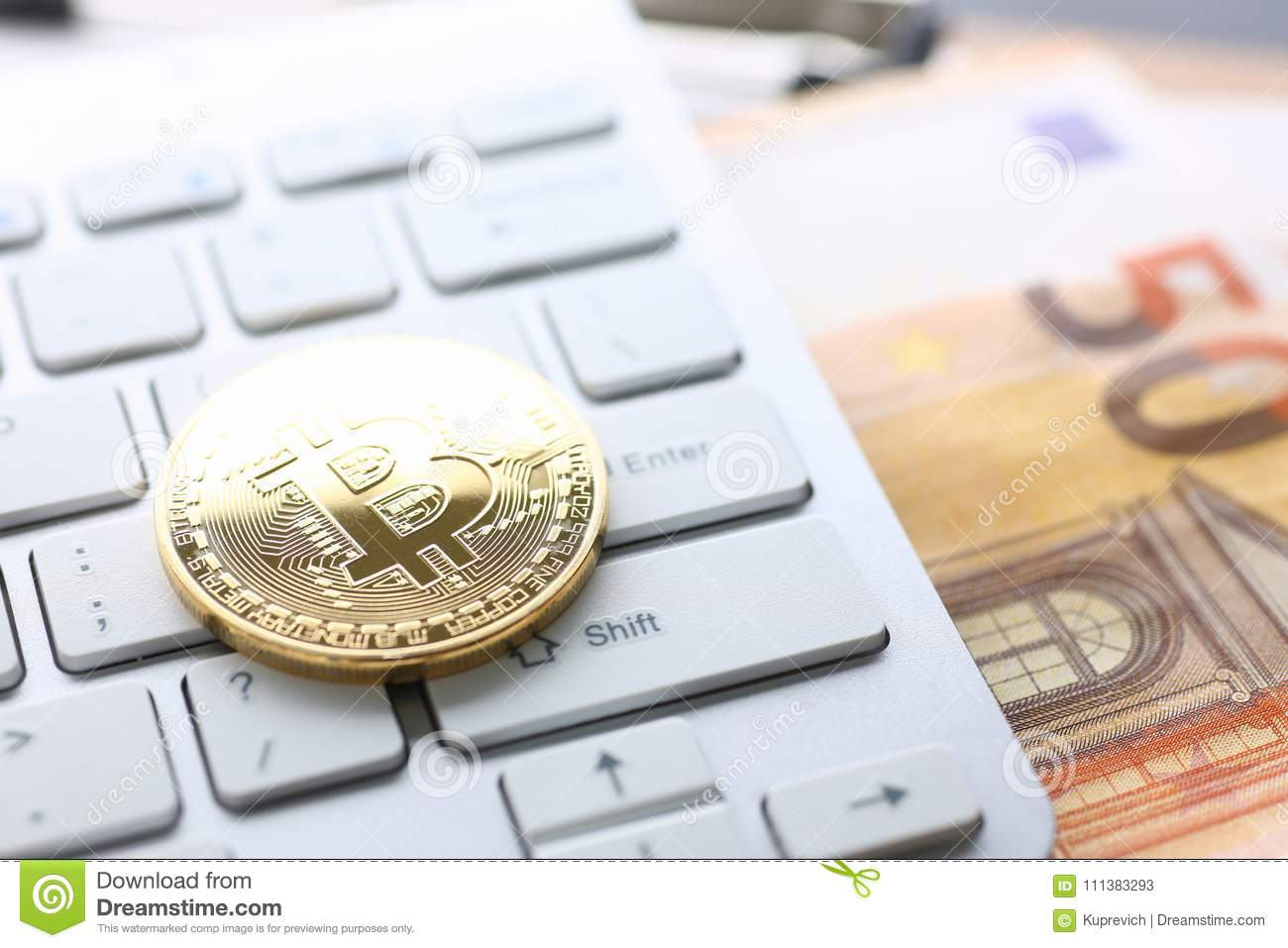 Coin Crypto Currency Bitcoin Lies On The Keyboard Stock Image