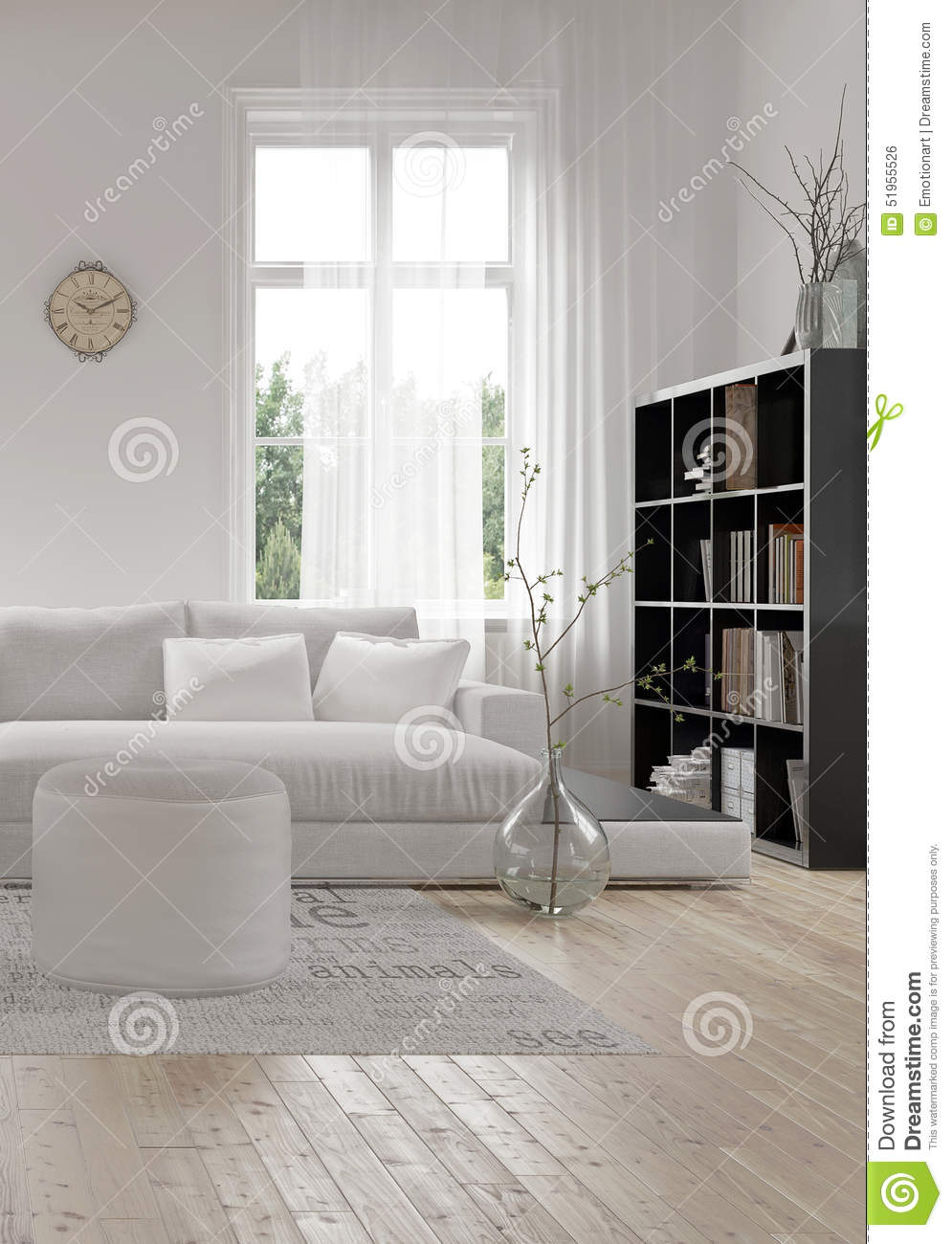 Coin d 39 un salon moderne blanc confortable illustration stock illustration du lumineux - Salon moderne blanc ...