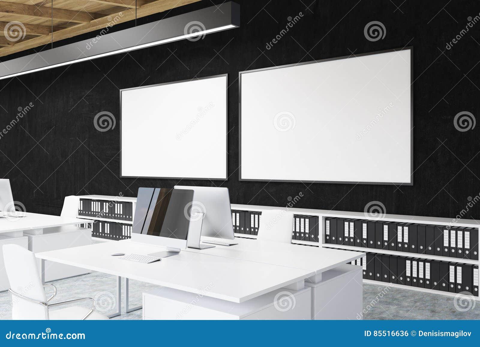 Coin de bureau avec deux affiches sur un mur noir illustration