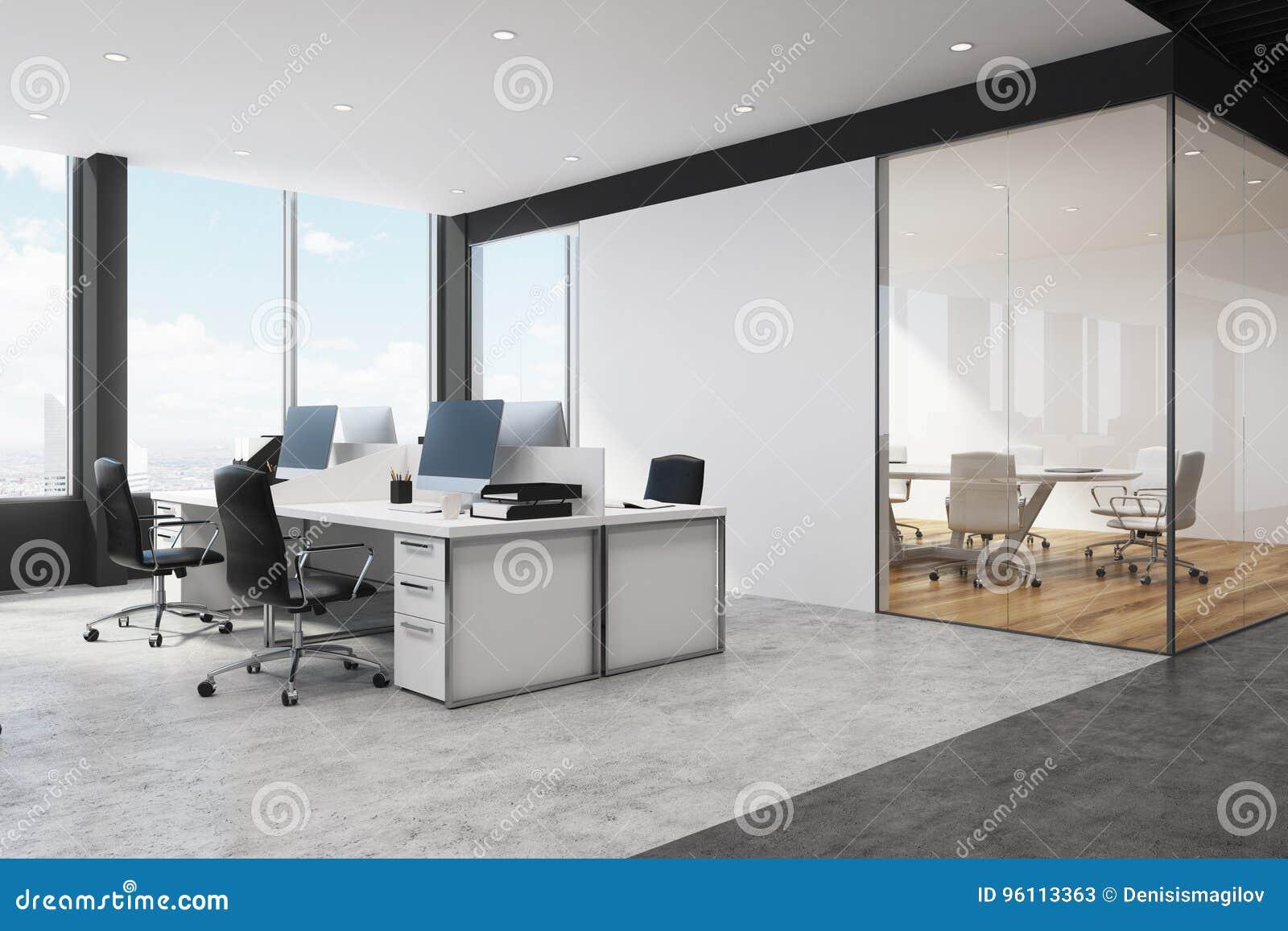 Coin de bureau blanc et noir de lespace ouvert illustration stock