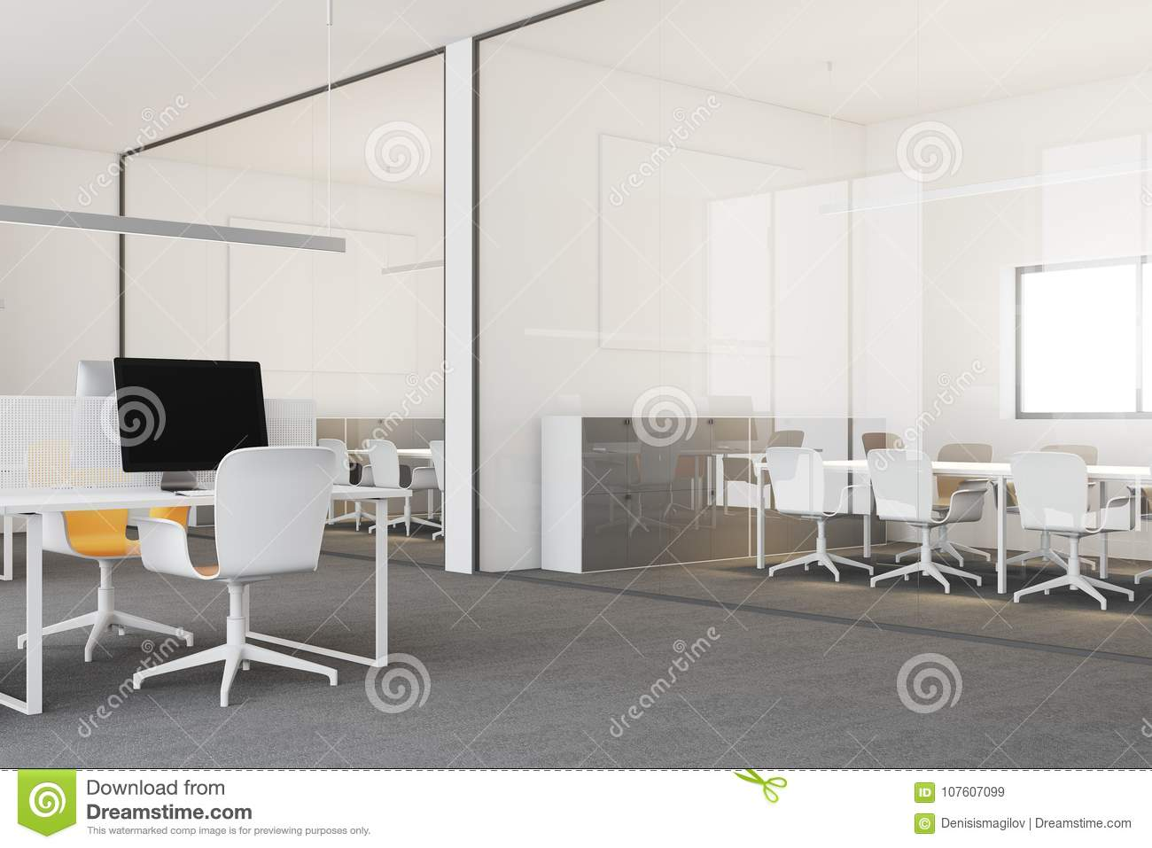 Coin de bureau moderne blanc de lespace ouvert illustration stock